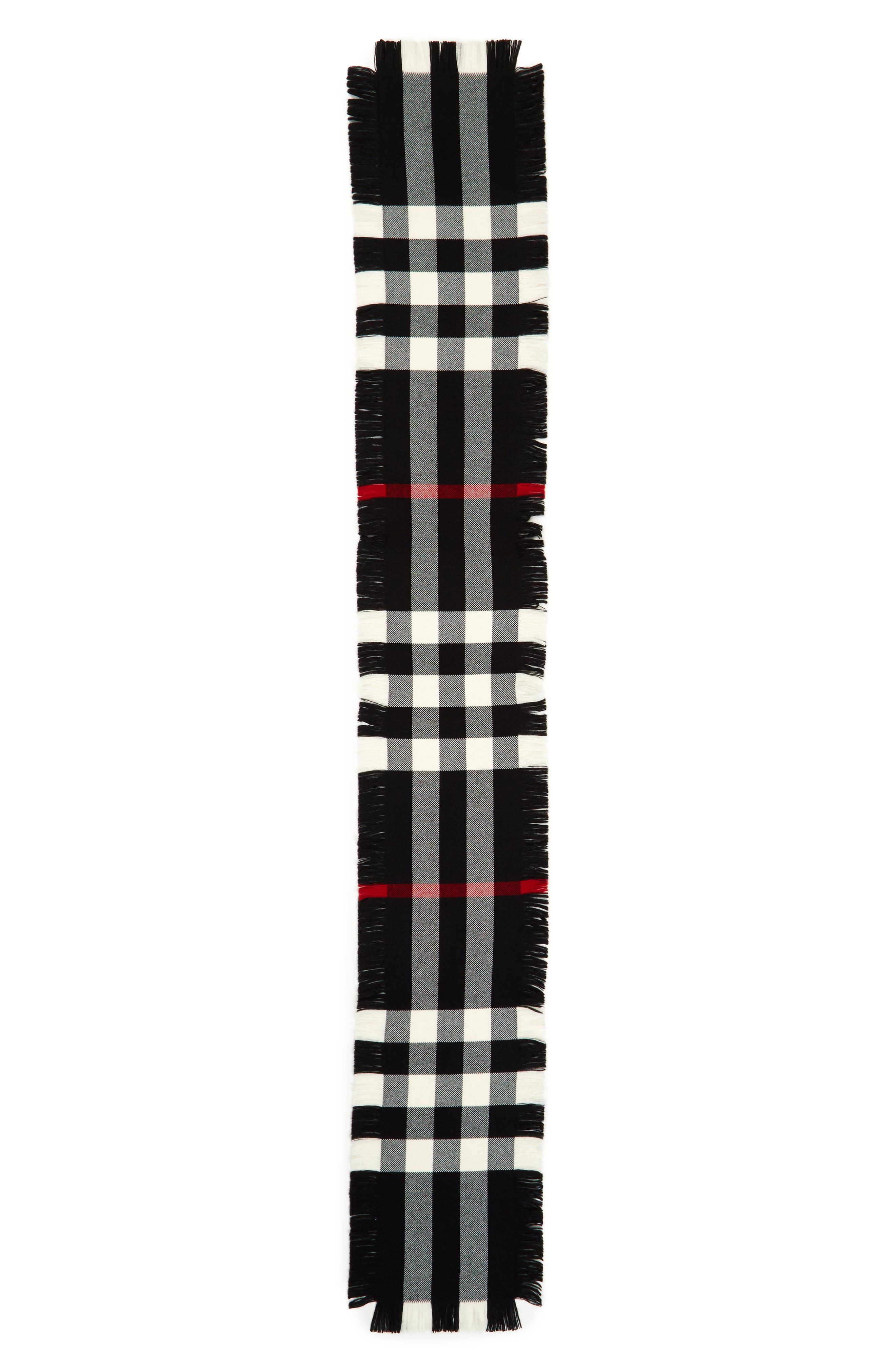 Half Mega Fashion Wool Fringe Scarf,                             Main thumbnail 1, color,                             BLACK