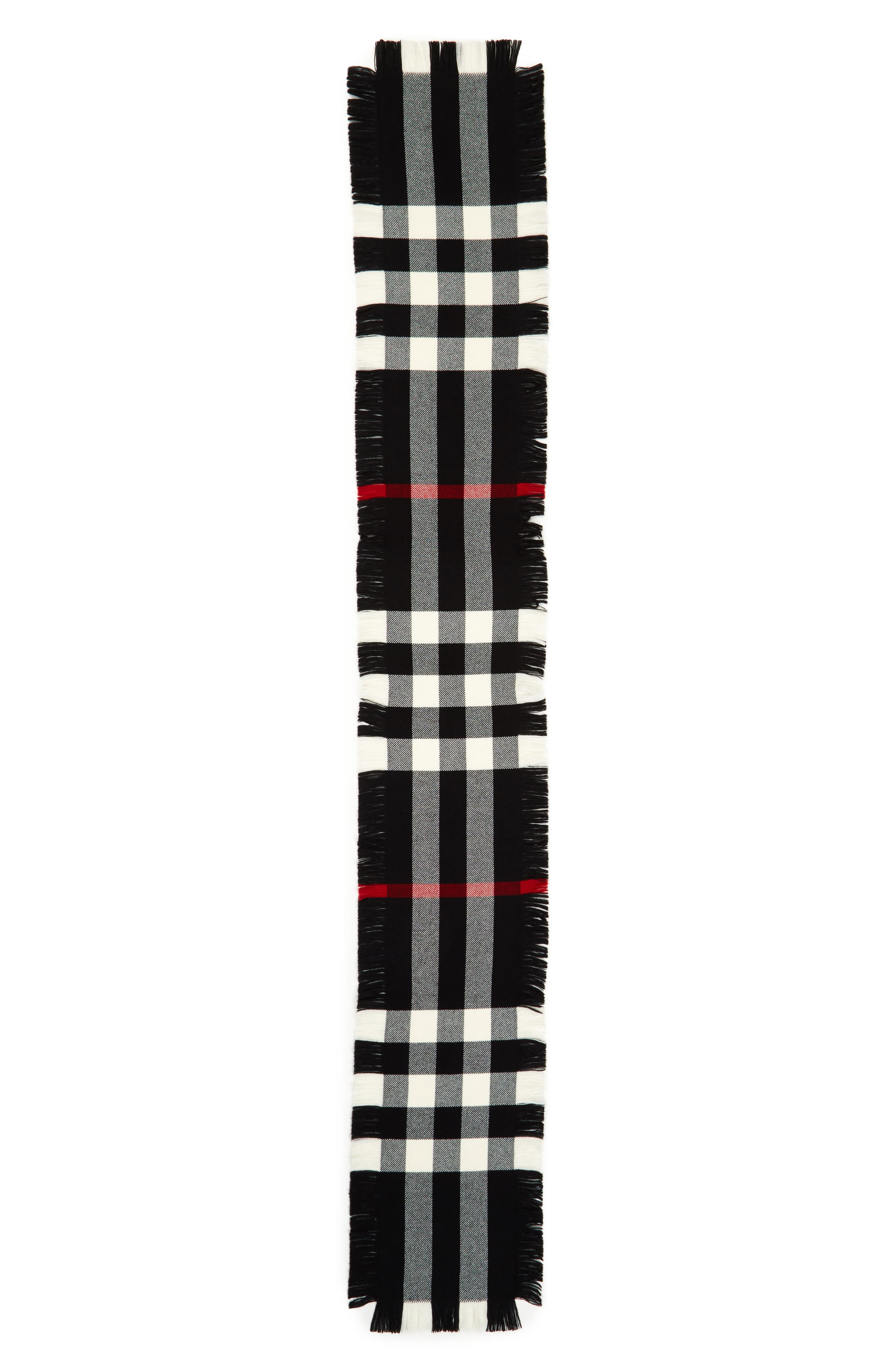Half Mega Fashion Wool Fringe Scarf,                         Main,                         color, BLACK