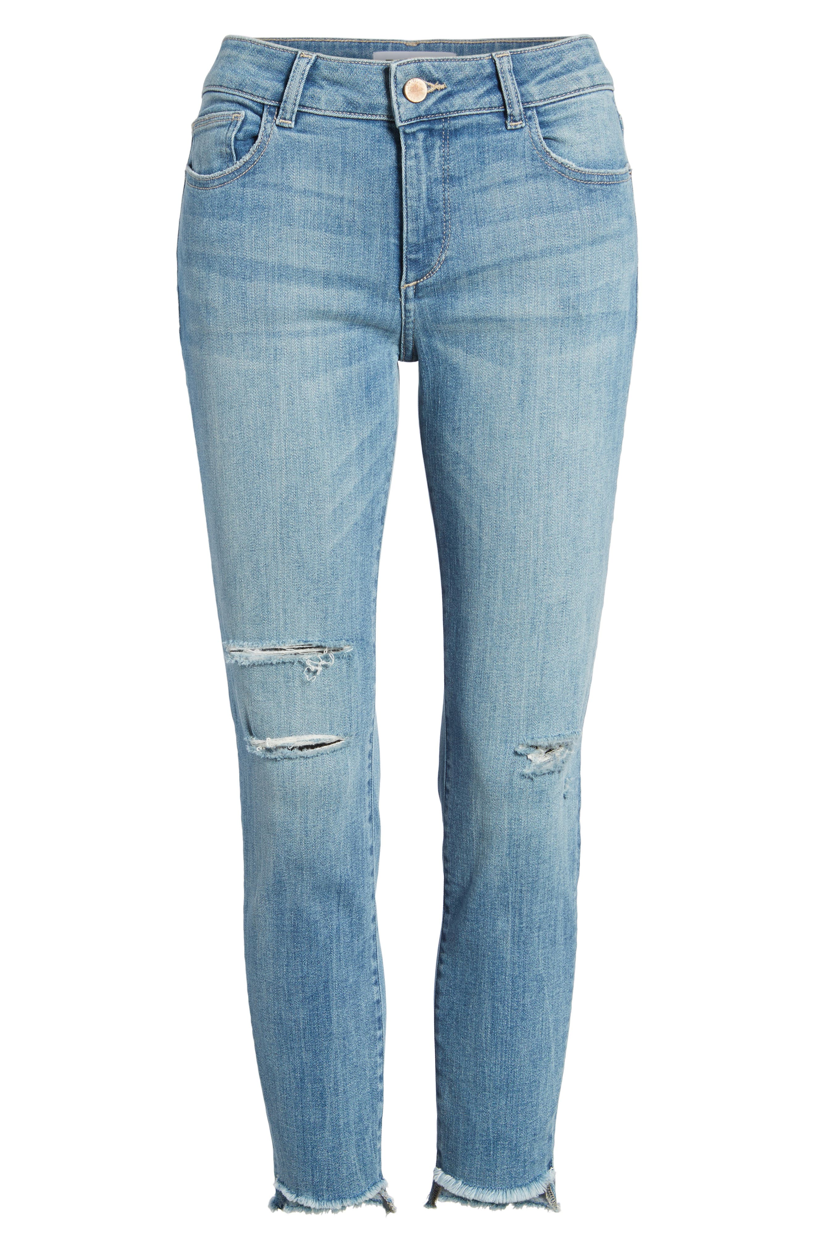 Florence Instasculpt Ripped Crop Skinny Jeans,                             Alternate thumbnail 7, color,                             429