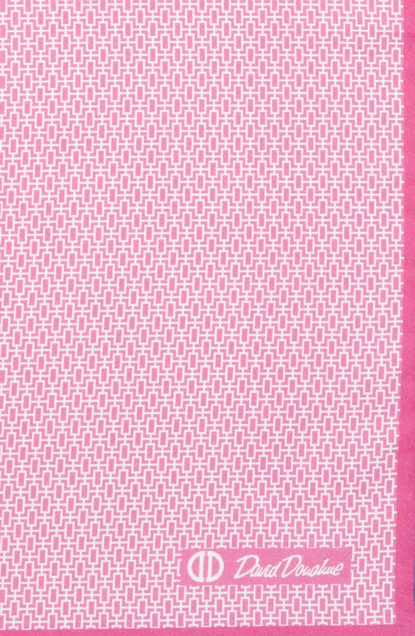 Geometric Cotton Pocket Square,                             Alternate thumbnail 3, color,                             PINK