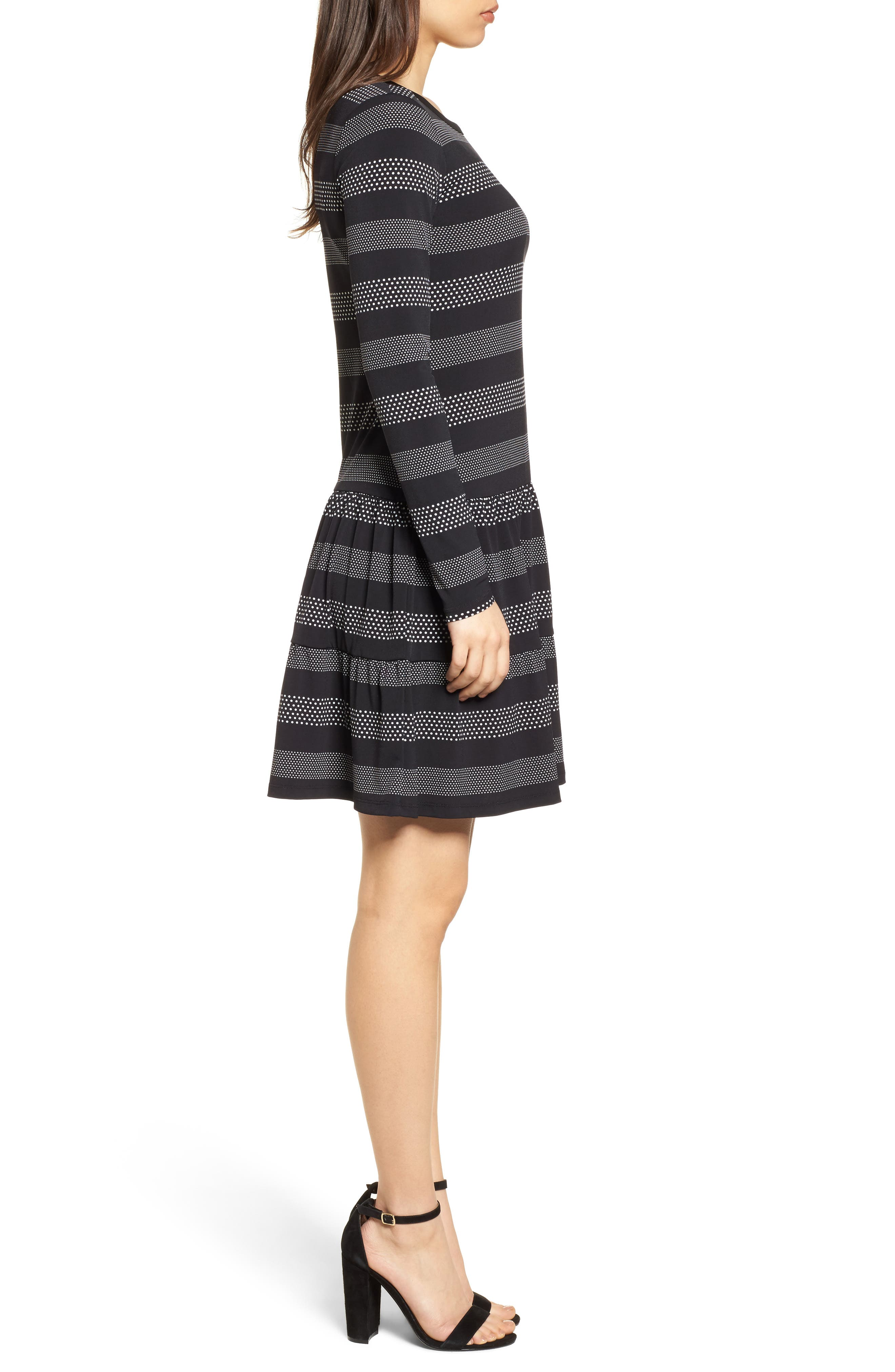 Stripe Dot Drop Waist Dress,                             Alternate thumbnail 3, color,                             018