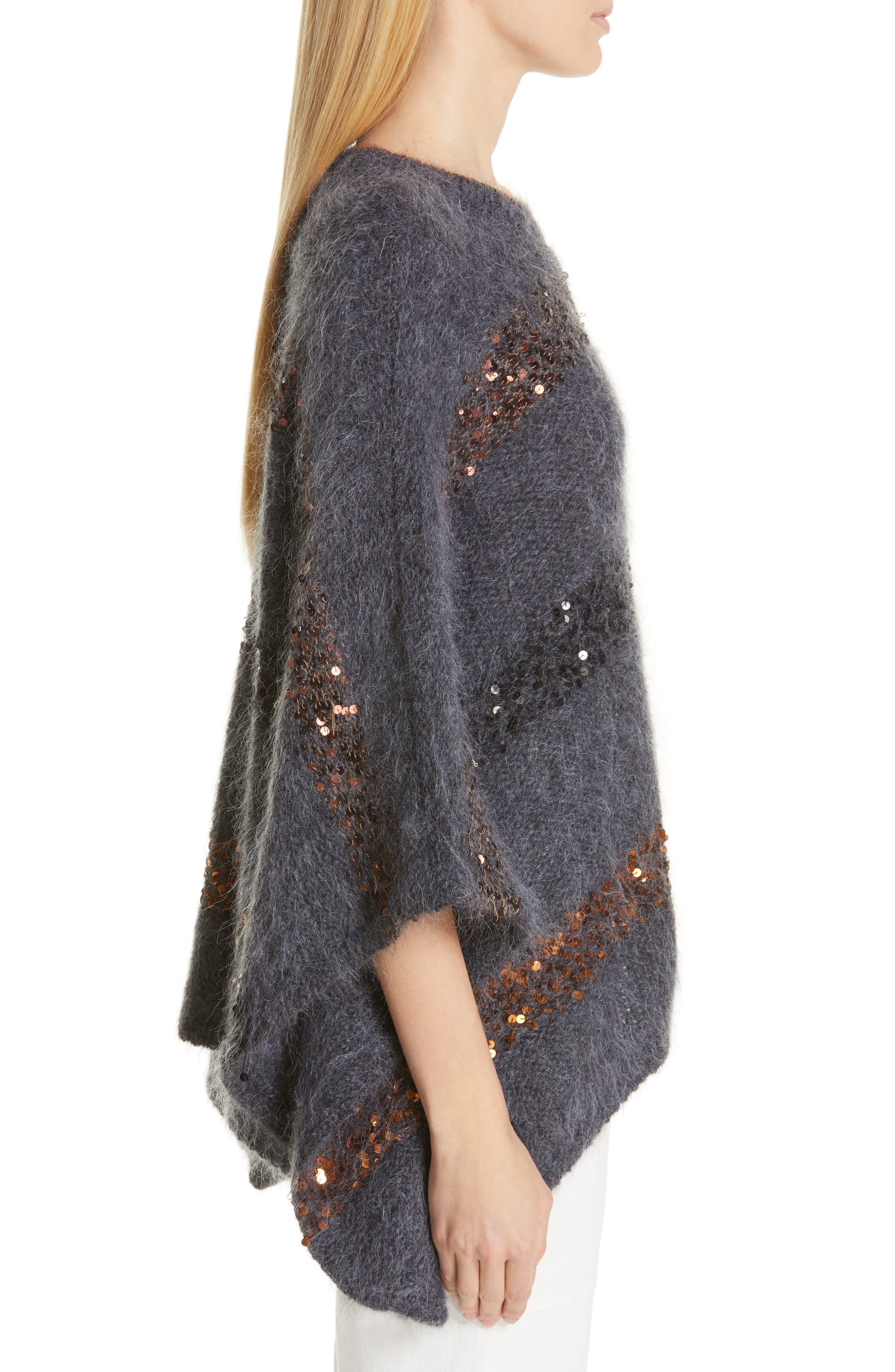 BRUNELLO CUCINELLI,                             Sequin Stripe Poncho Sweater,                             Alternate thumbnail 4, color,                             ANTHRACITE