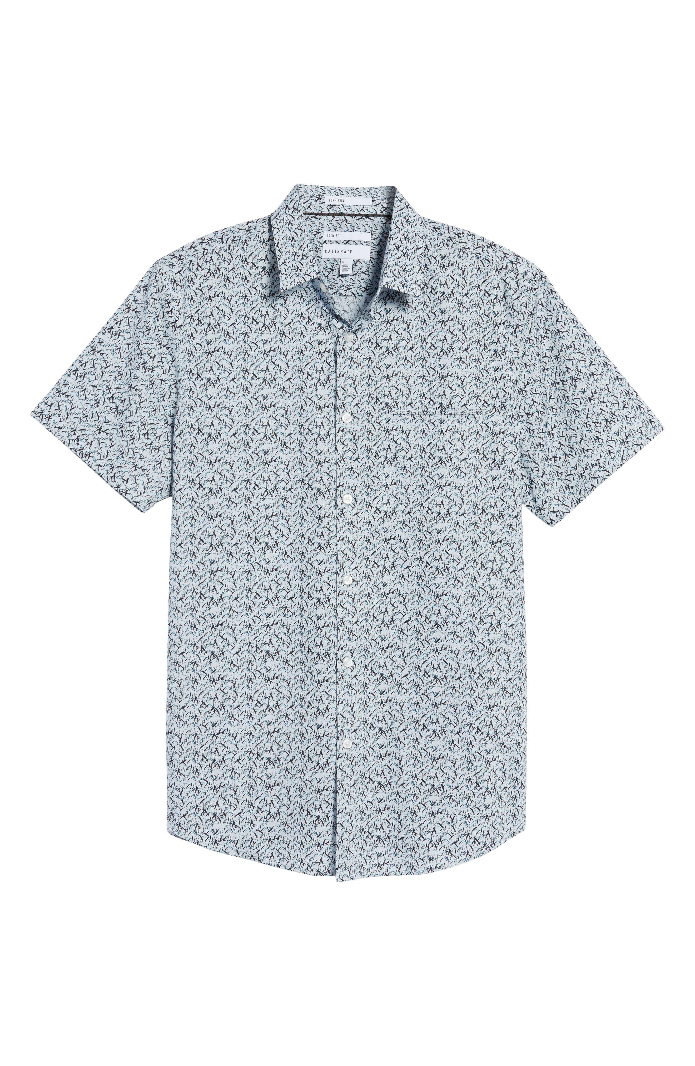 Slim Fit No-Iron Print Sport Shirt,                             Alternate thumbnail 6, color,                             450