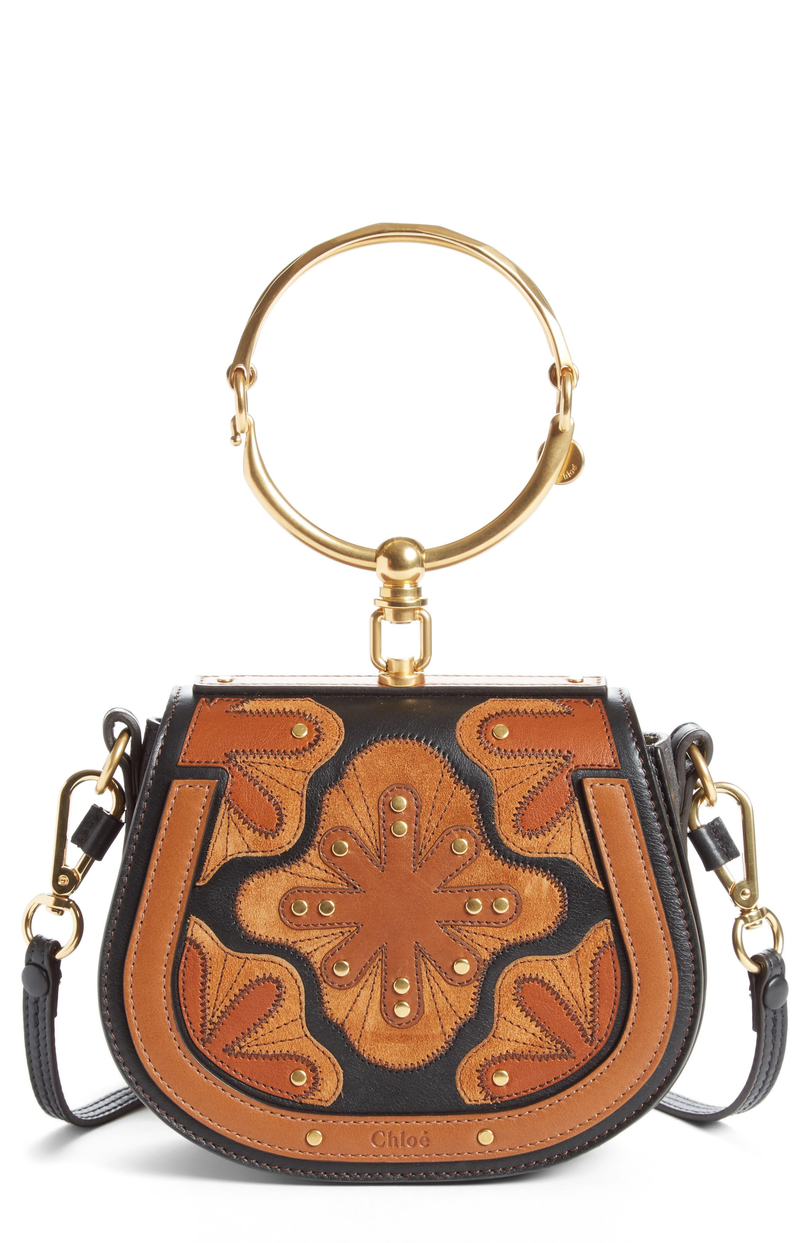 Small Nile Calfskin Leather Bracelet Bag,                             Main thumbnail 1, color,                             BLACK