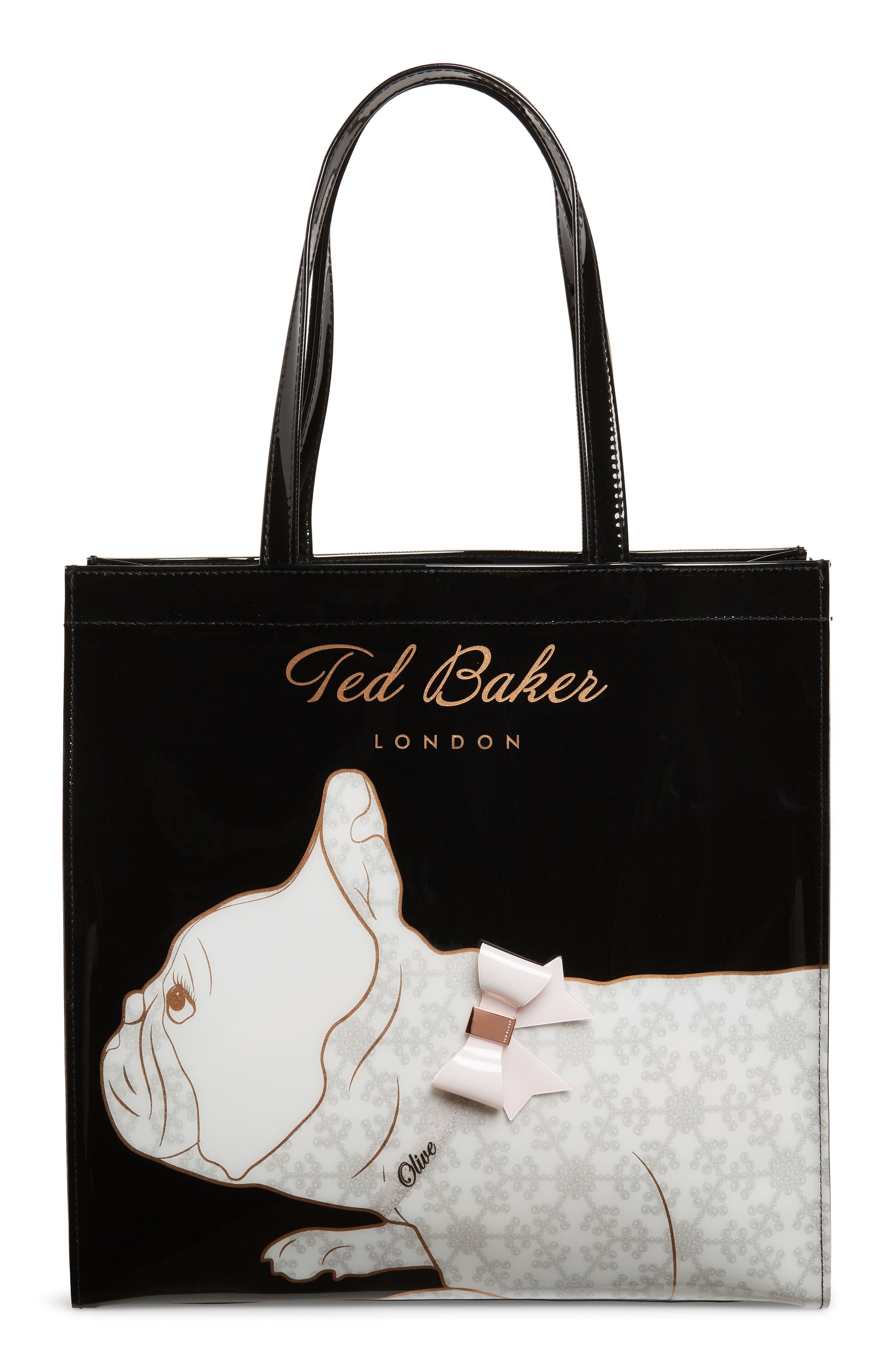 TED BAKER LONDON,                             Large Alyacon French Bulldog Icon Tote,                             Main thumbnail 1, color,                             001