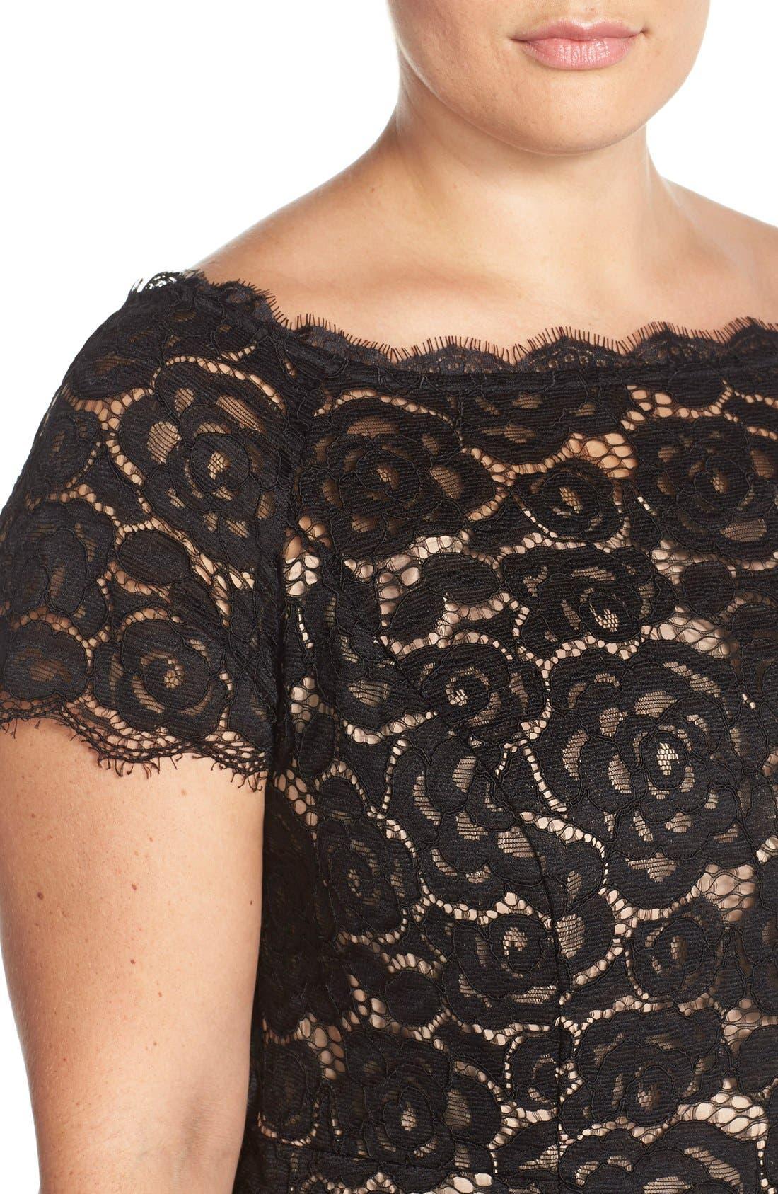 Off the Shoulder Lace Sheath Dress,                             Alternate thumbnail 7, color,                             BLACK/ NUDE