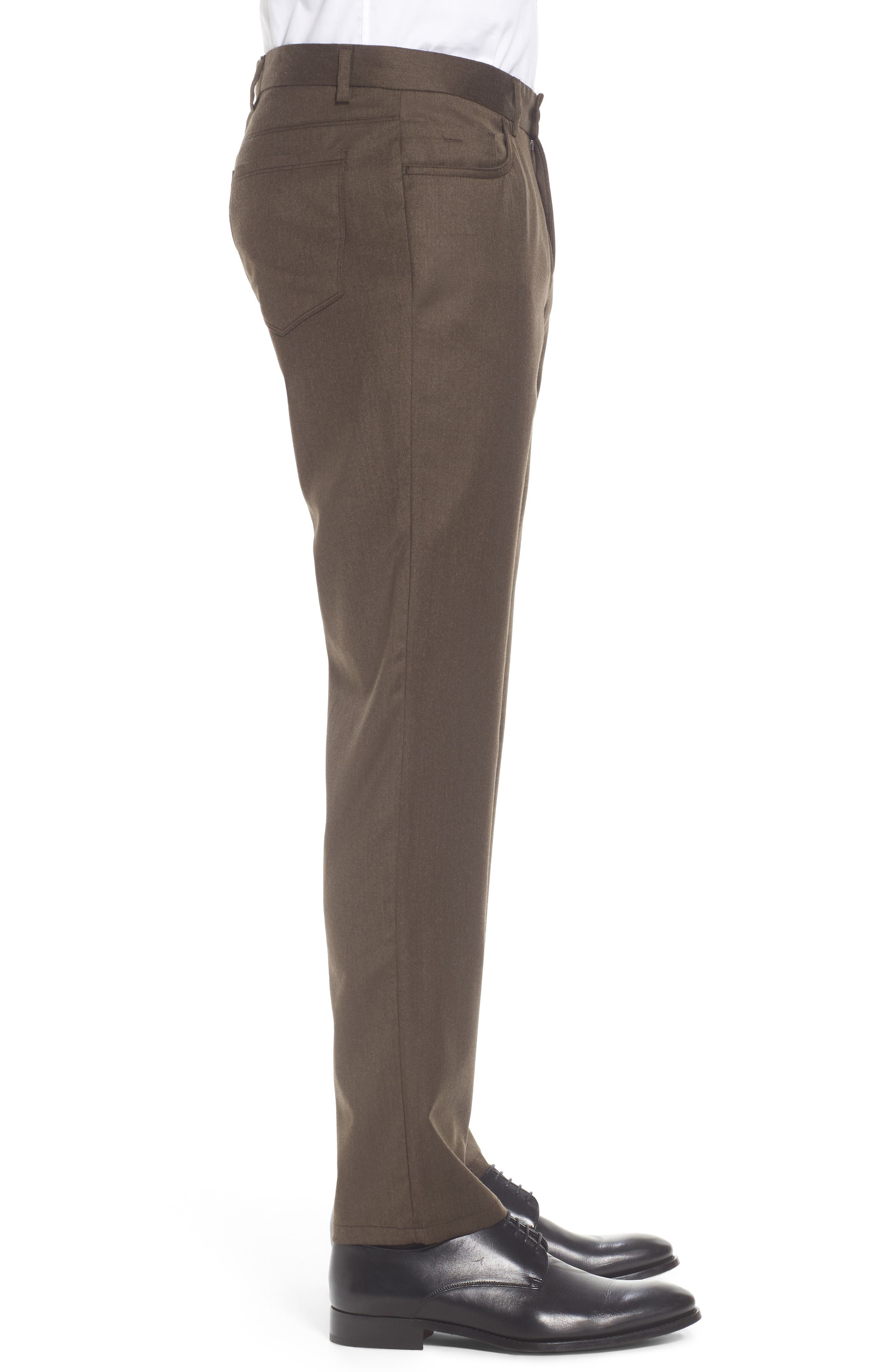 Flat Front Solid Stretch Wool Trousers,                             Alternate thumbnail 11, color,