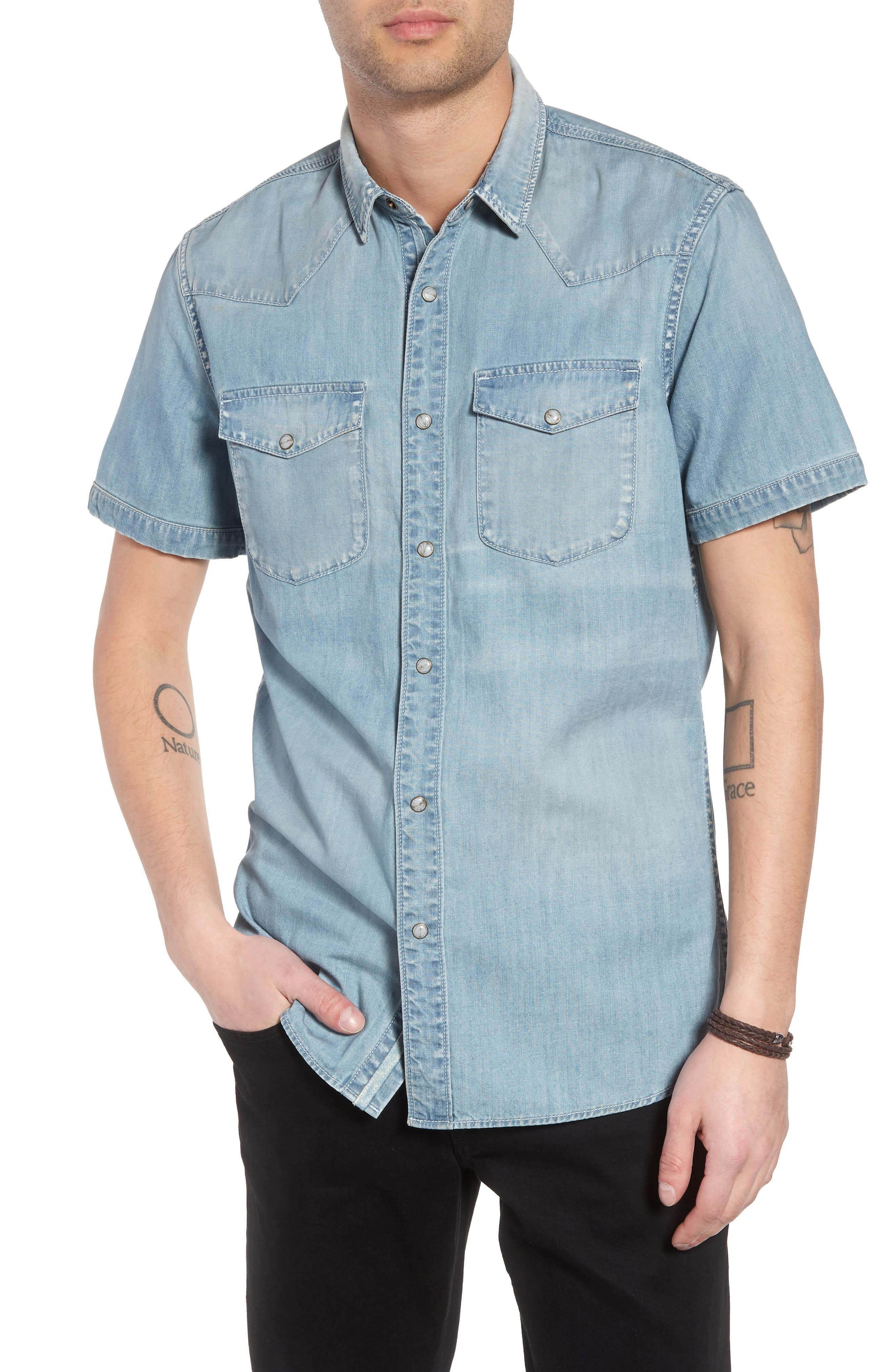 Slim Fit Western Denim Shirt,                         Main,                         color, BLUE LIGHT VINTAGE WASH
