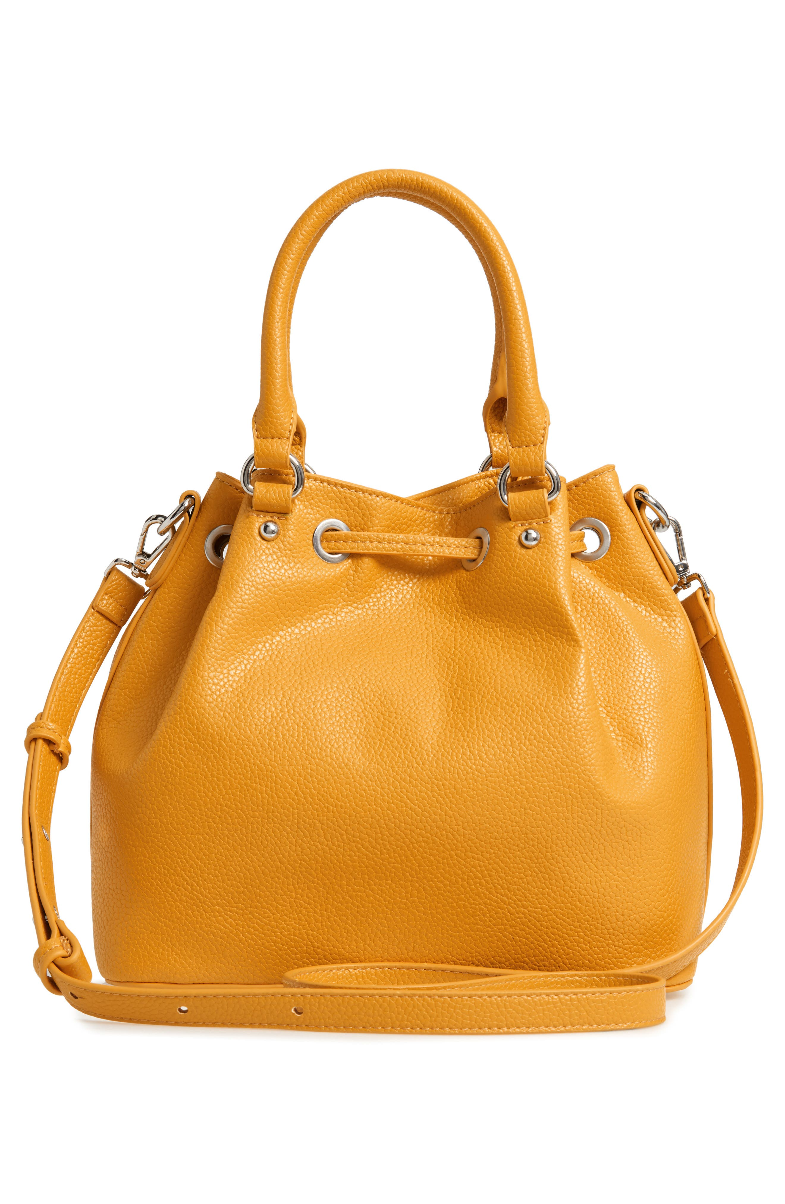 Baudrie Faux Leather Satchel,                             Alternate thumbnail 3, color,                             MUSTARD