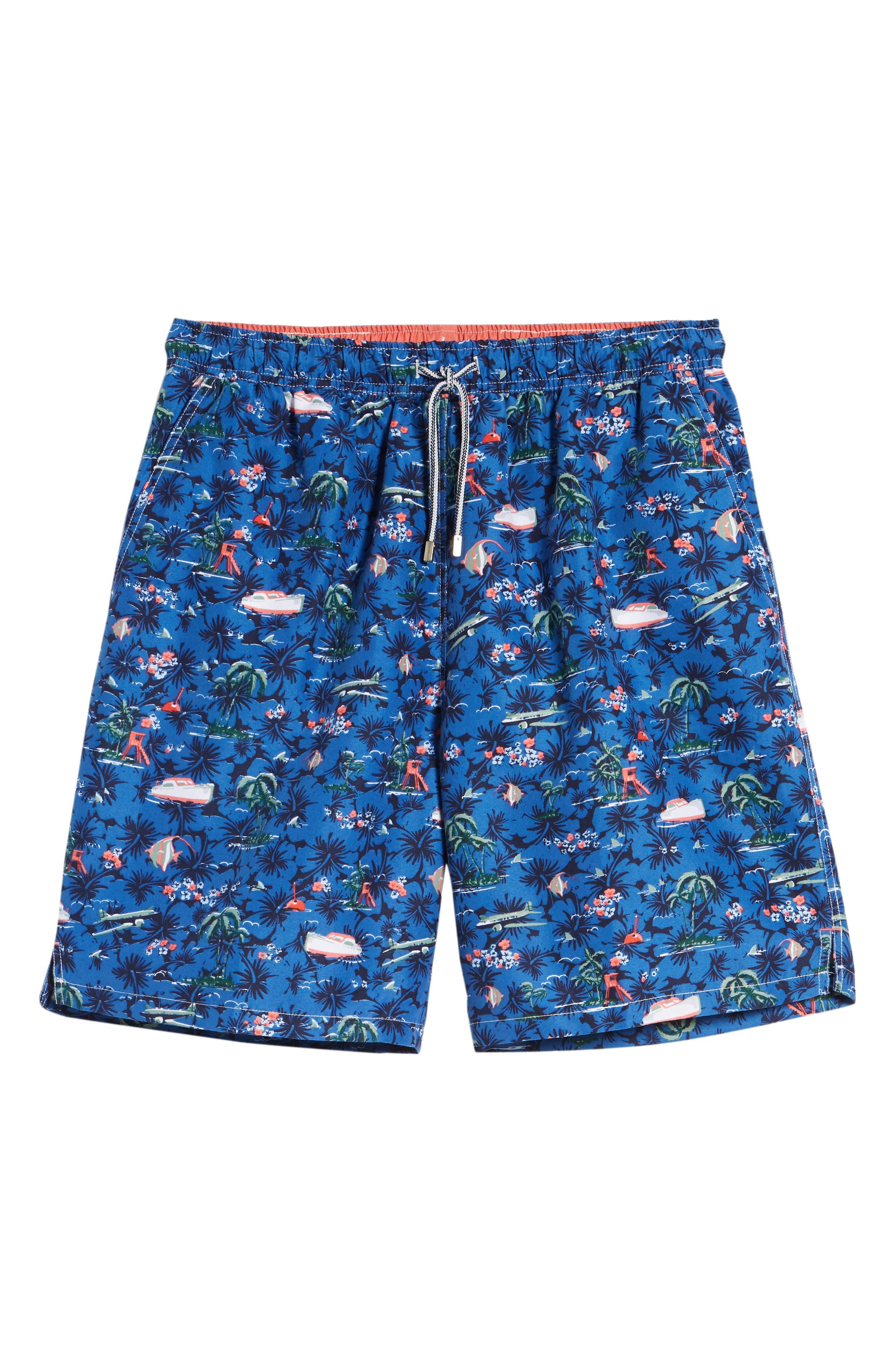 Hawaiian Express Swim Trunks,                             Alternate thumbnail 6, color,                             BLUE