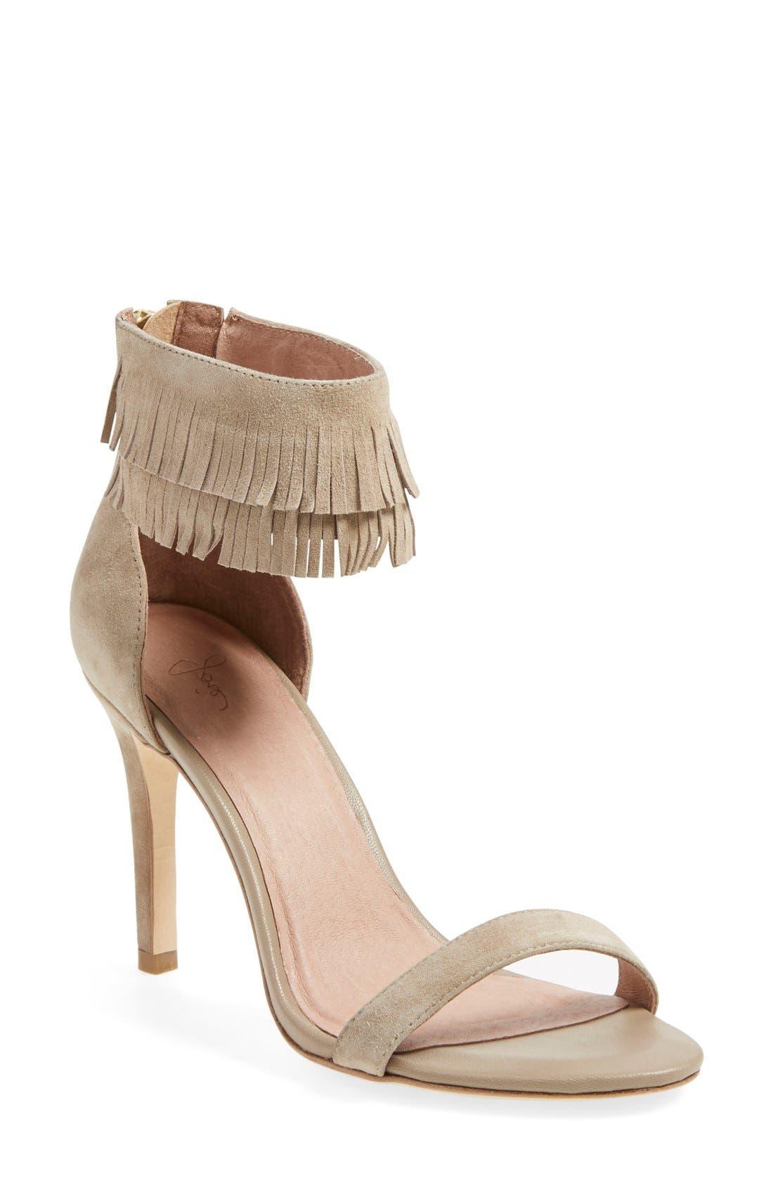 'Alek' Fringe Ankle Strap Sandal, Main, color, 254