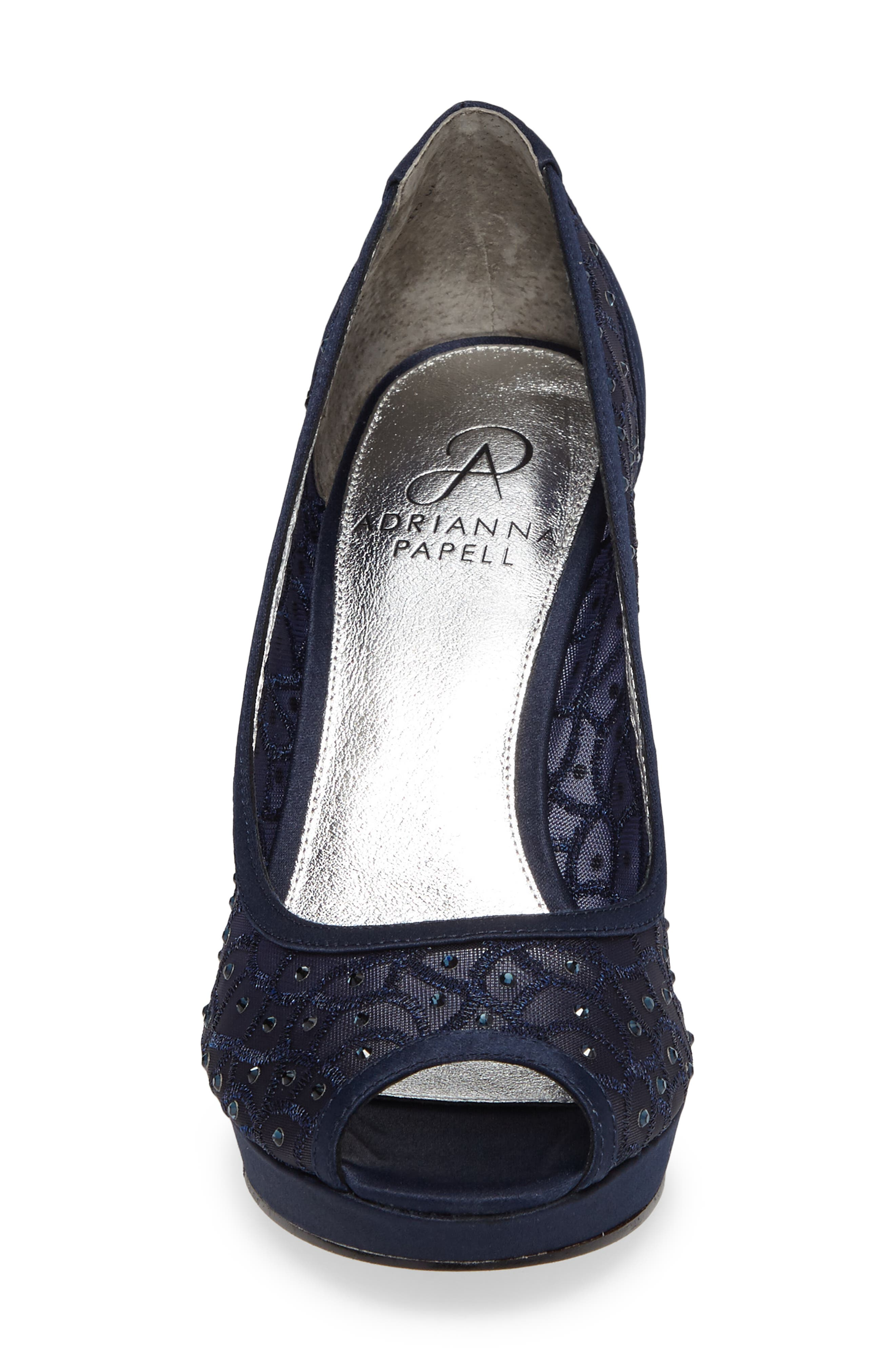 'Foxy' Crystal Embellished Peeptoe Pump,                             Alternate thumbnail 4, color,                             NAVY SATIN