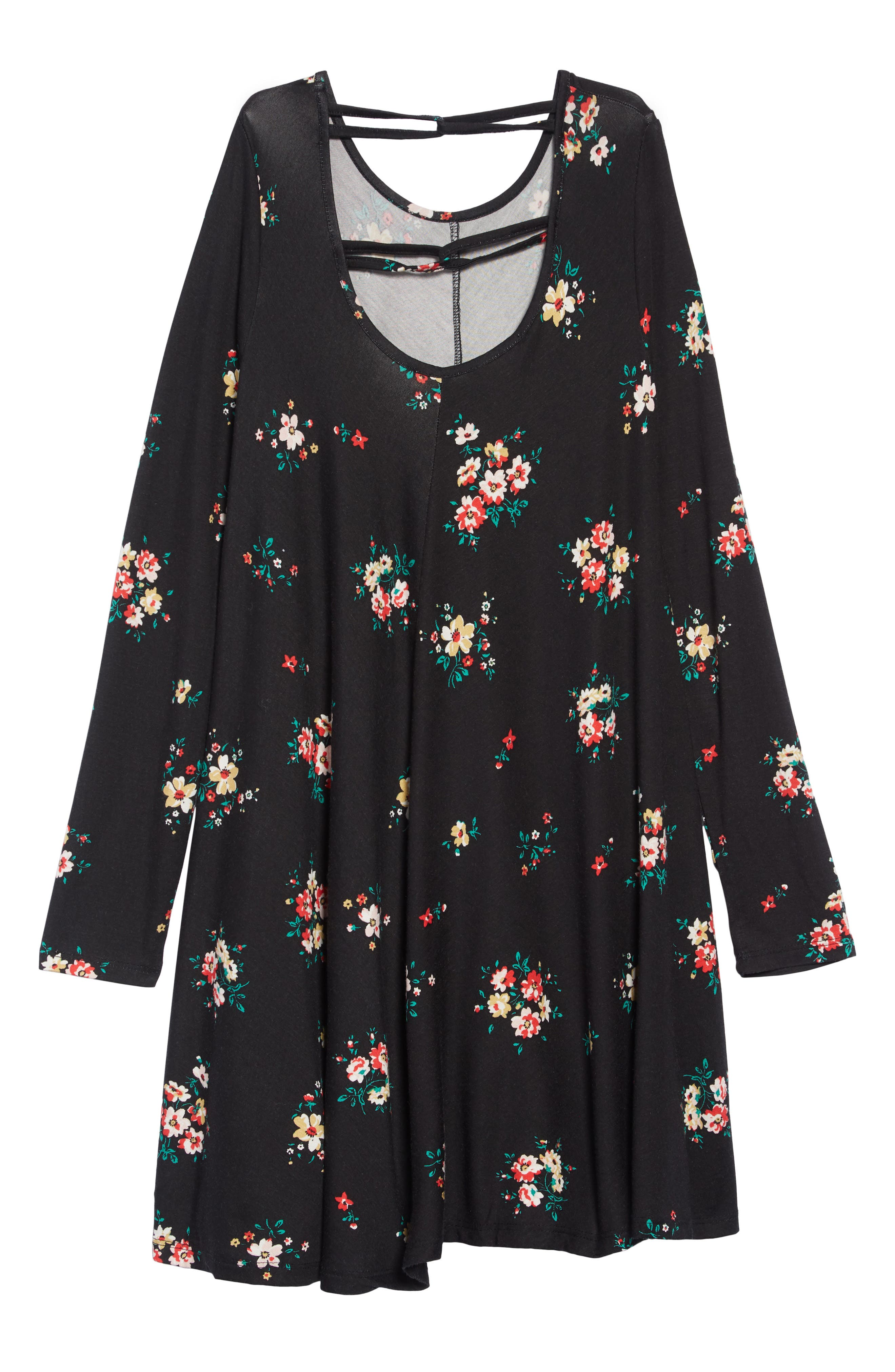 Printed Crisscross Back Shift Dress,                             Alternate thumbnail 2, color,                             BLACK PRETTY FLORAL