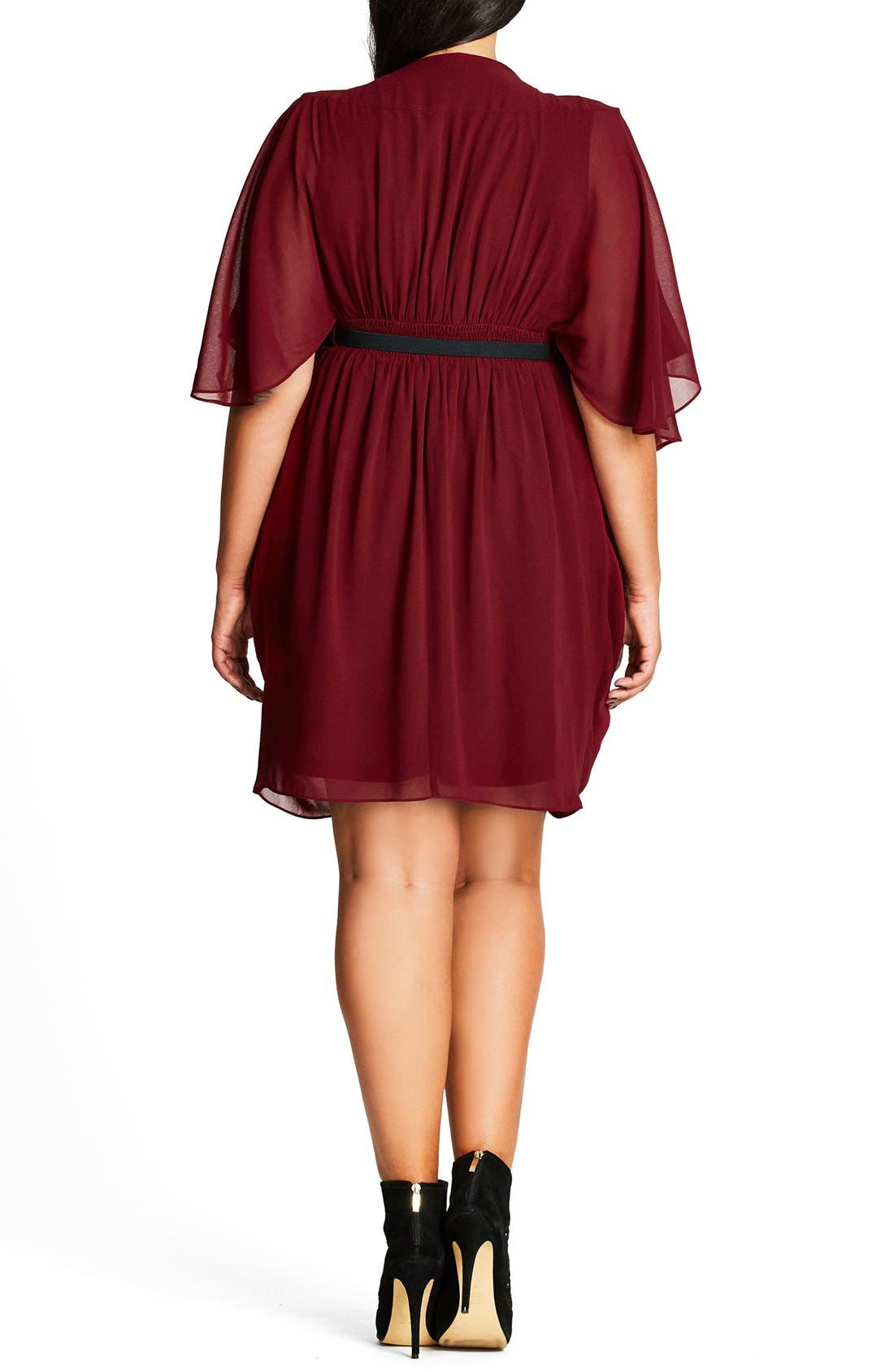 Belted Chiffon Faux Wrap Dress,                             Alternate thumbnail 2, color,                             RUBY