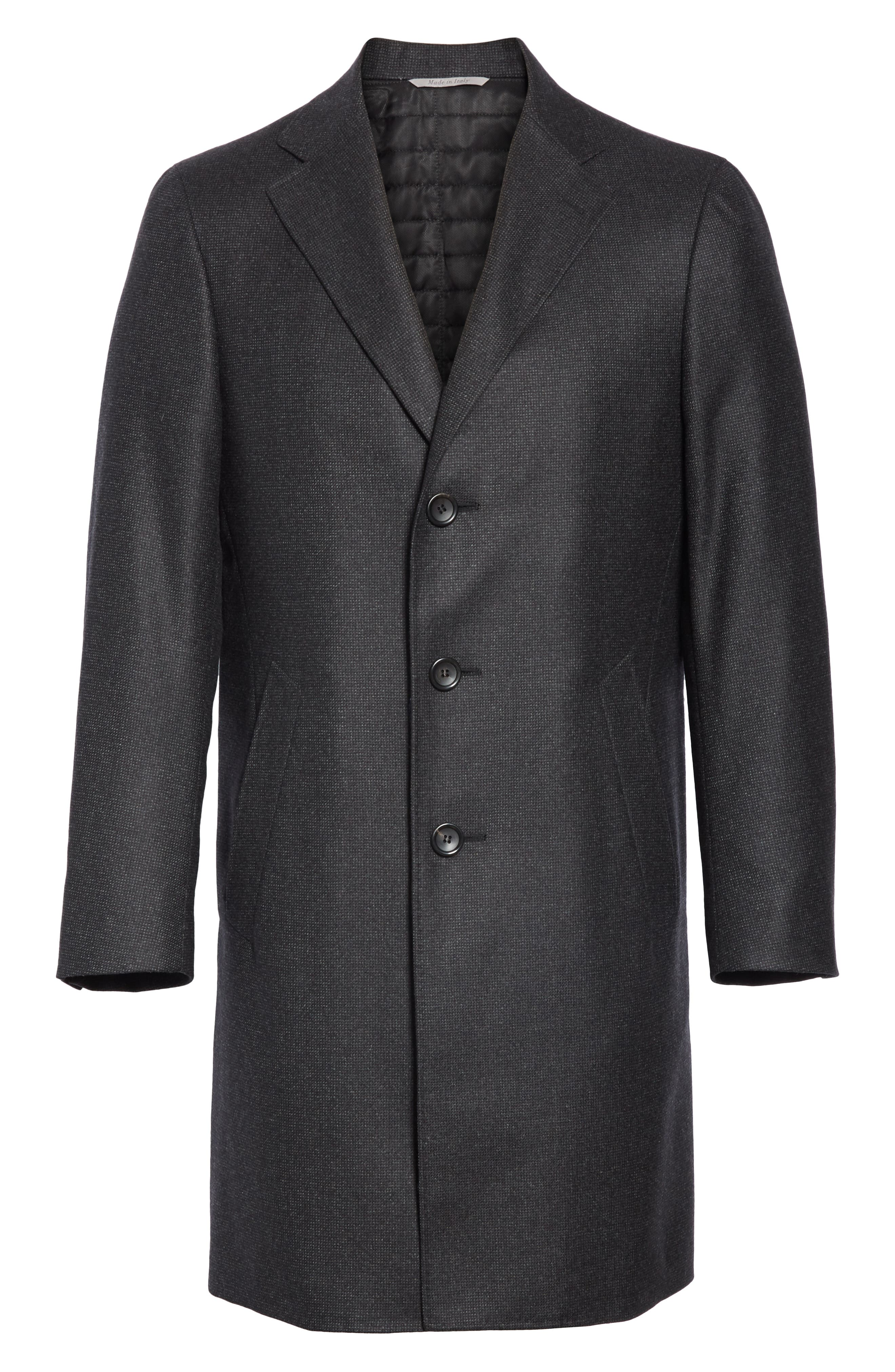 Solid Wool Top Coat,                             Alternate thumbnail 5, color,                             CHARCOAL