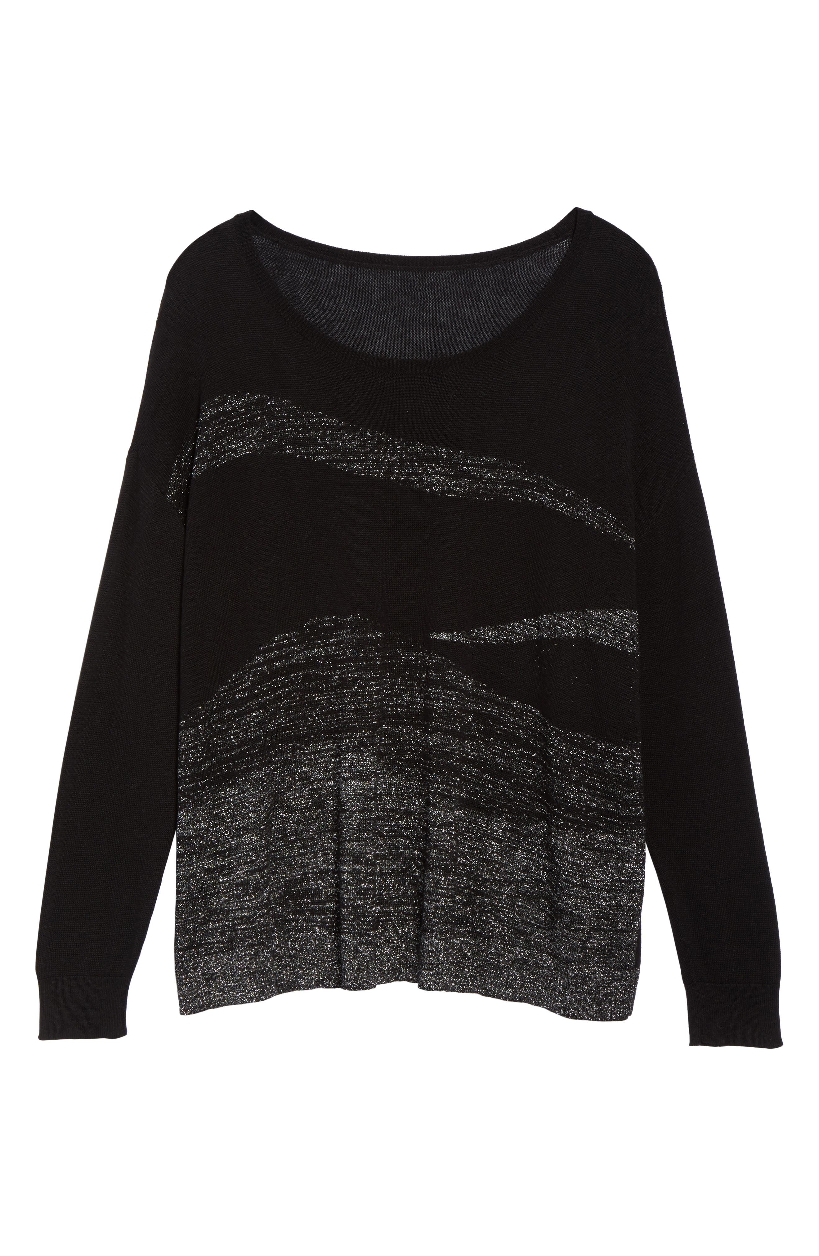 Metallic Scoop Neck Sweater,                             Alternate thumbnail 6, color,                             001
