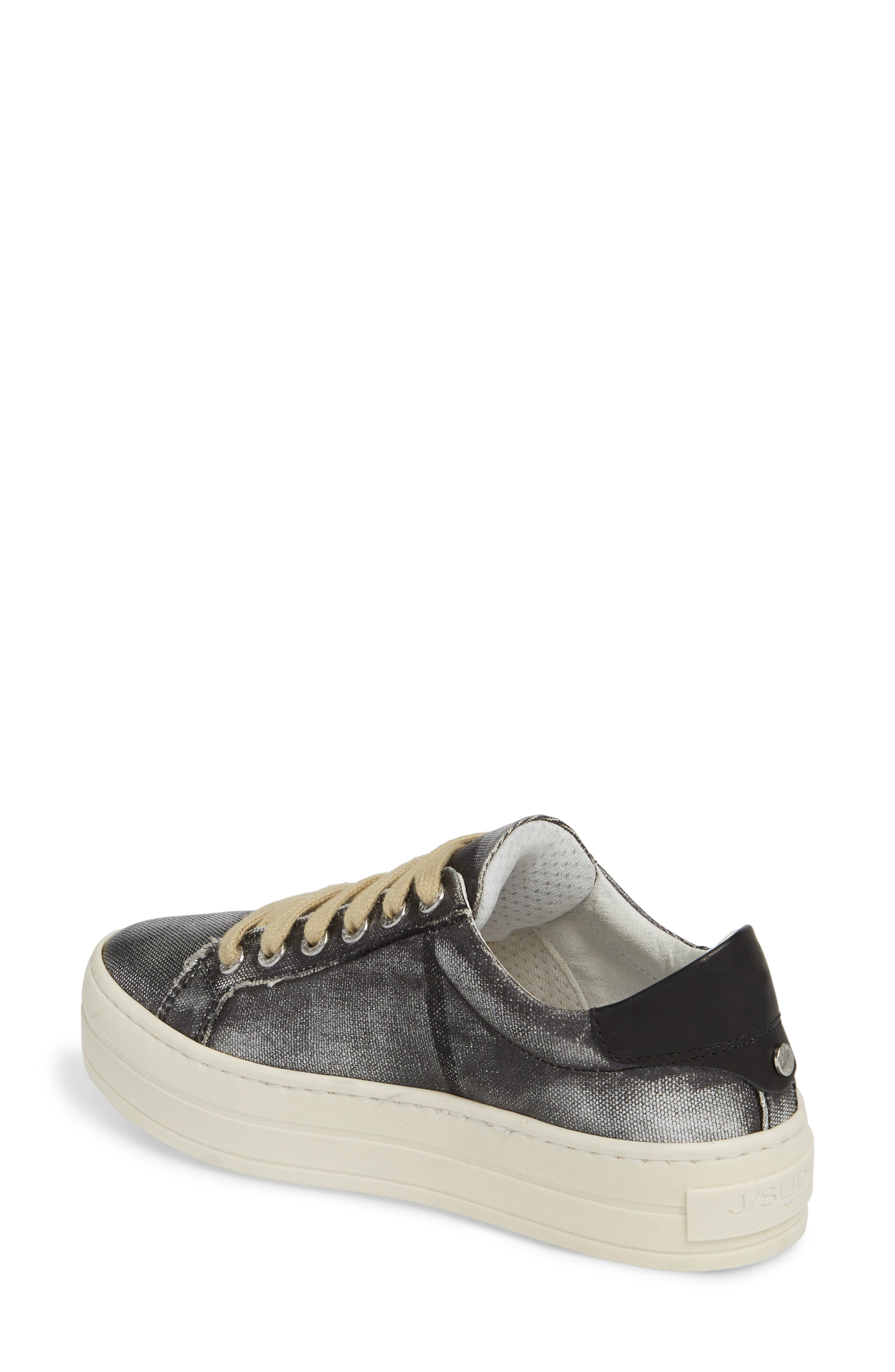 Heather Platform Sneaker,                             Alternate thumbnail 2, color,                             BLACK LEATHER
