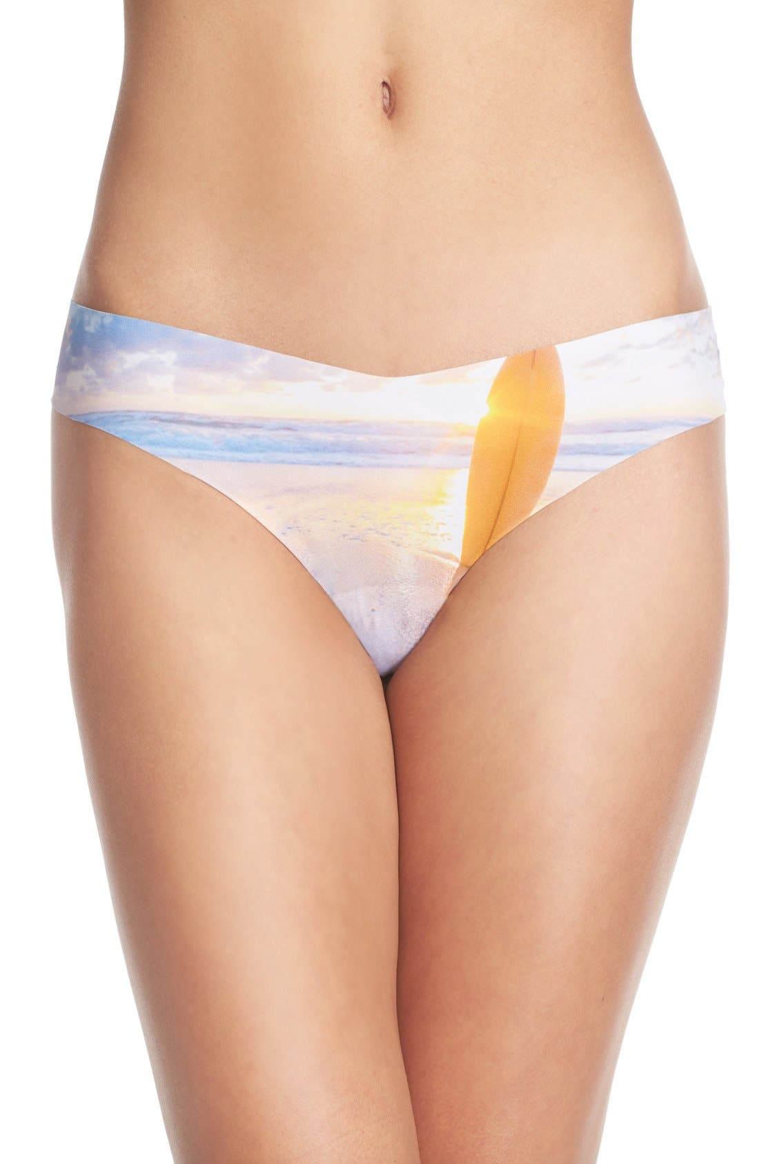 Print Microfiber Thong,                             Main thumbnail 77, color,