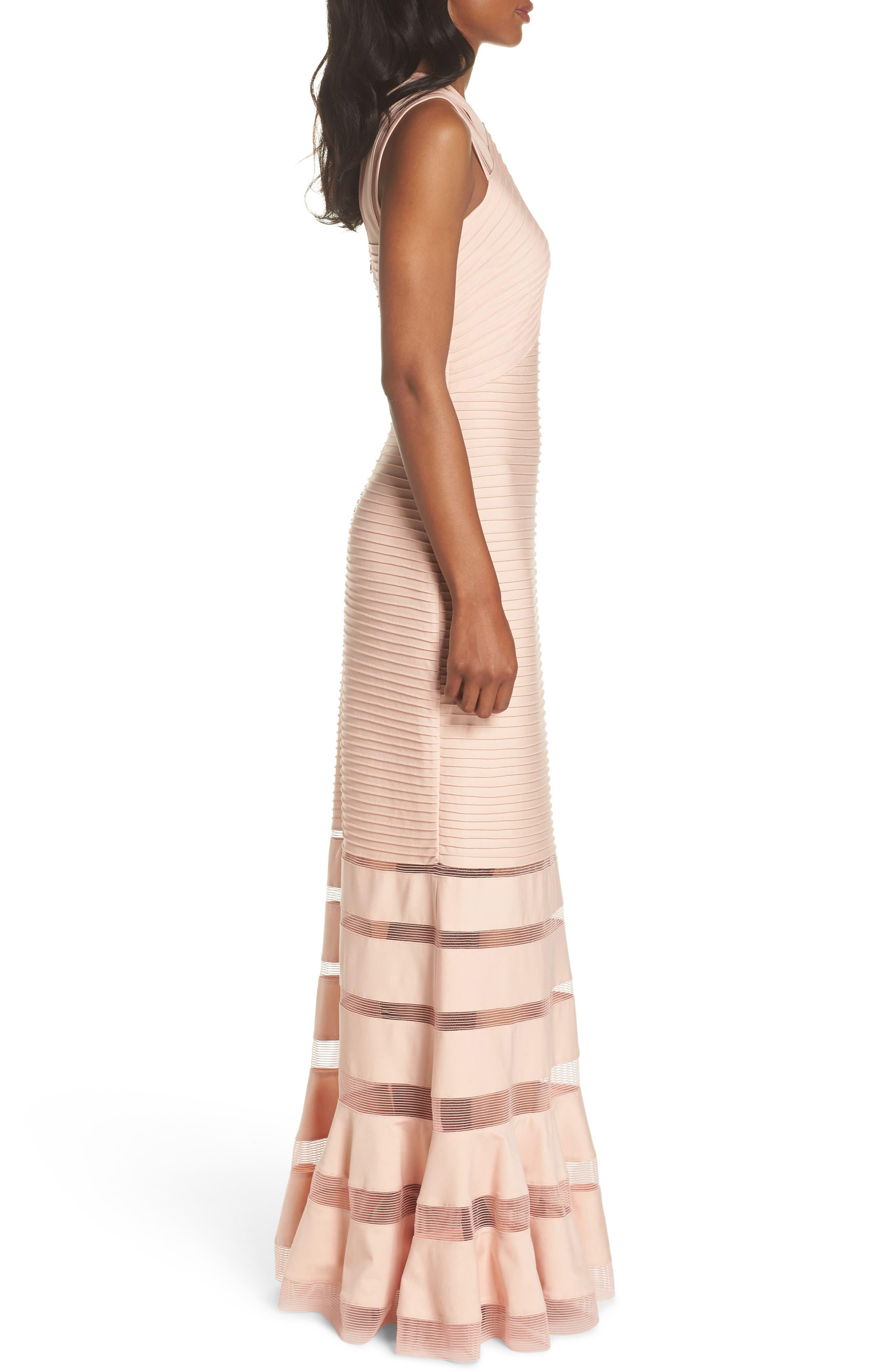Mesh Inset Pintuck Dress,                             Alternate thumbnail 3, color,                             PETAL/ BLOOM
