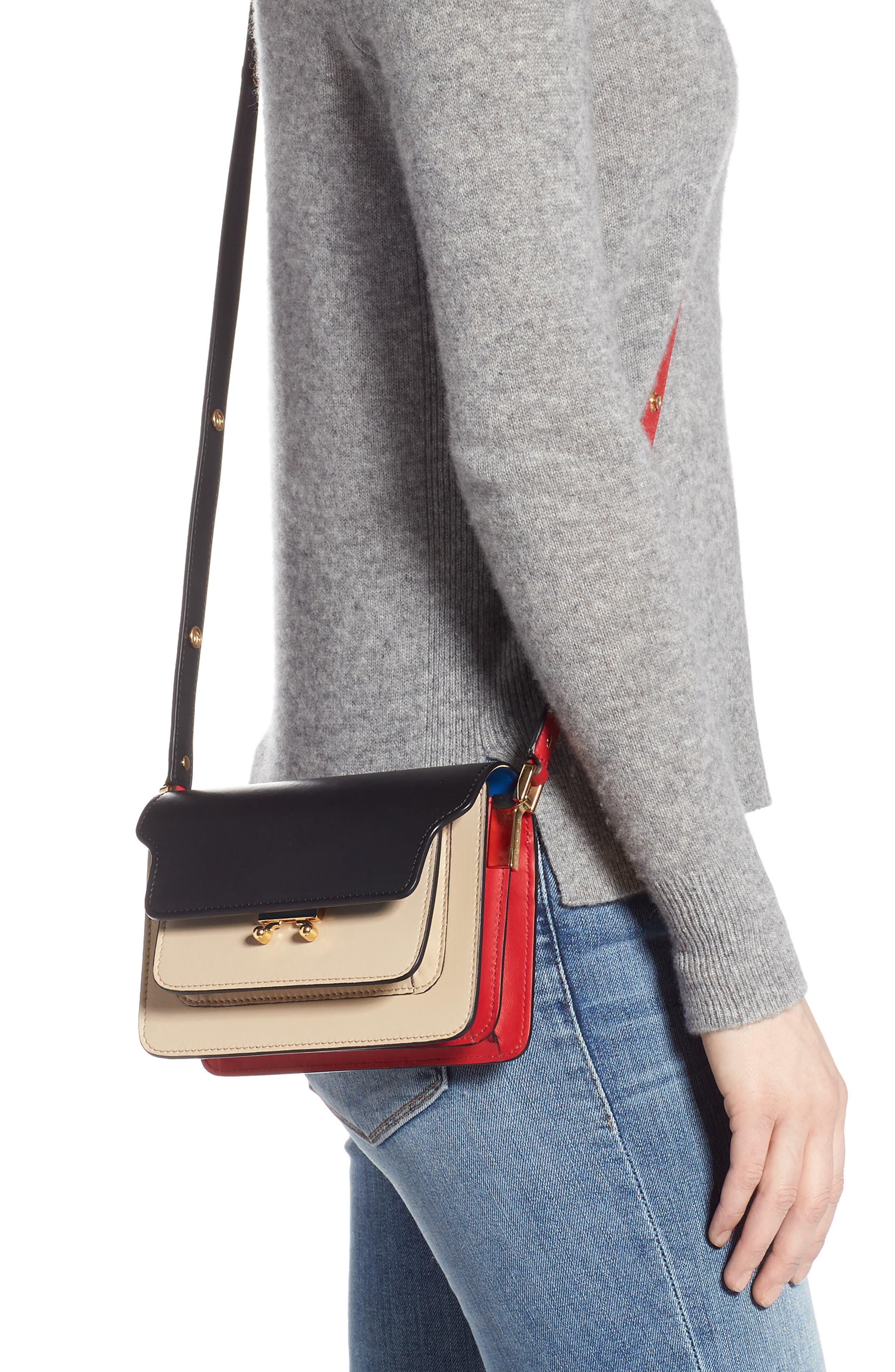 Small Trunk Colorblock Leather Shoulder Bag,                             Alternate thumbnail 2, color,                             LIGHT CAMEL/ BLACK/ RED
