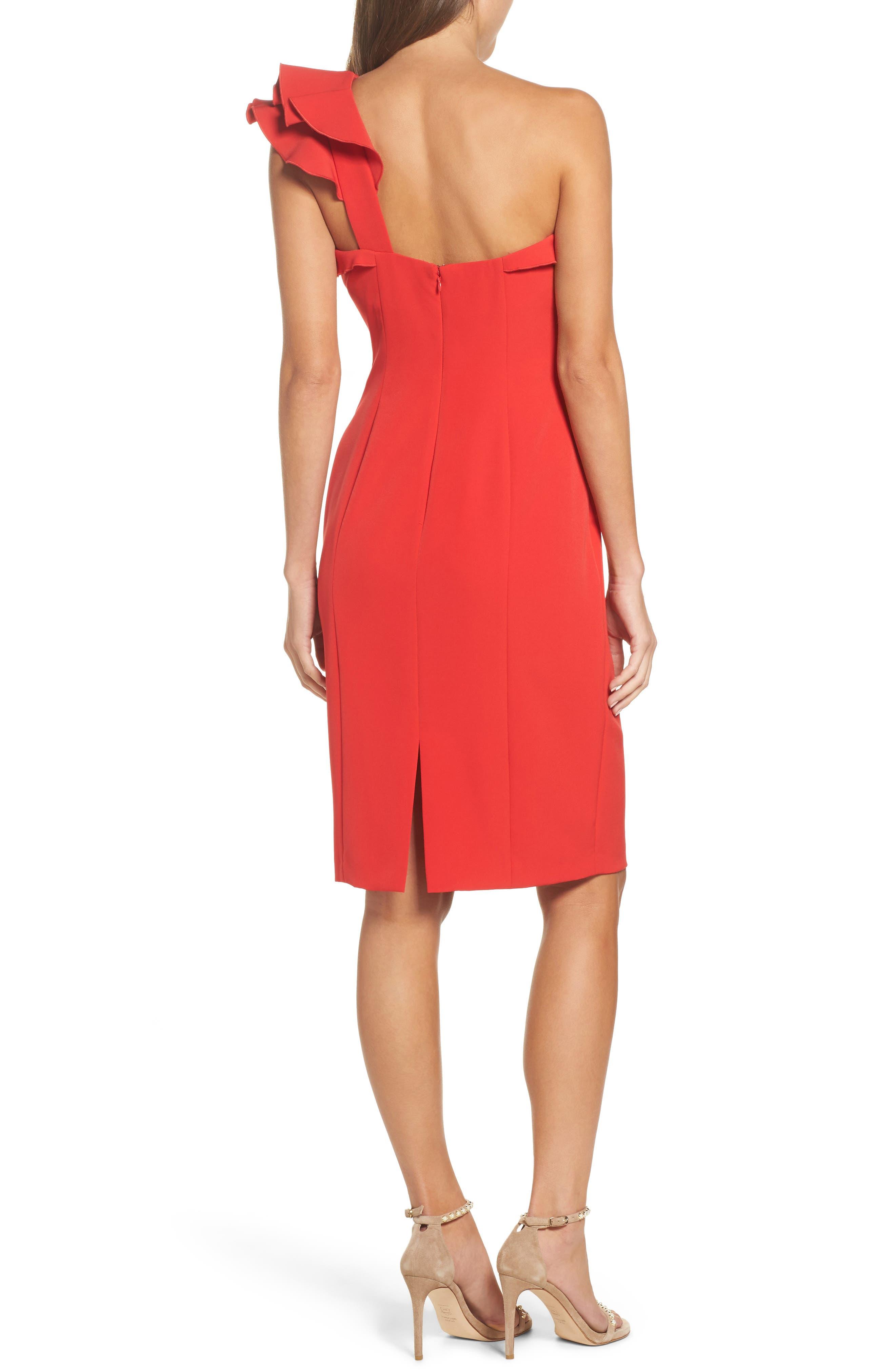 Ruffle One-Shoulder Dress,                             Alternate thumbnail 2, color,