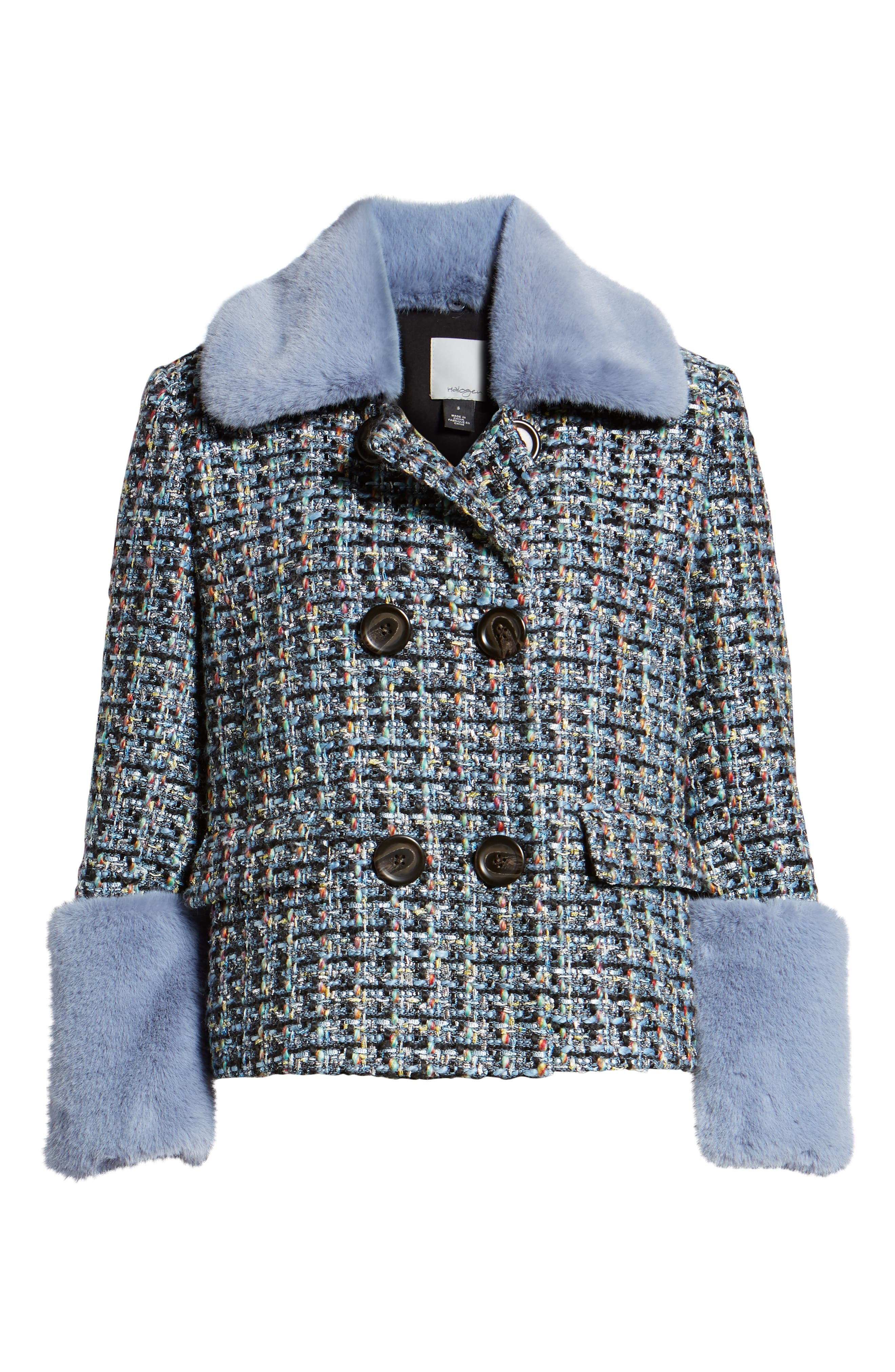 x Atlantic-Pacific Tweed Jacket with Removable Faux Fur Trim,                             Alternate thumbnail 7, color,                             BLACK MULTI TWEED