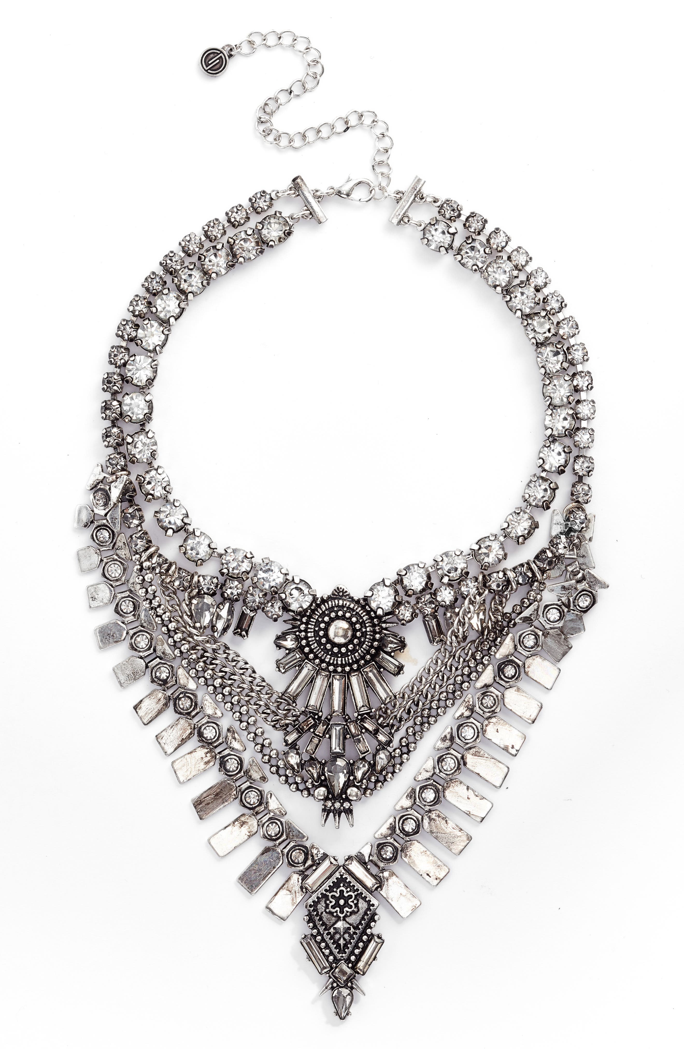 Curb Chain & Crystal Necklace,                         Main,                         color, 040