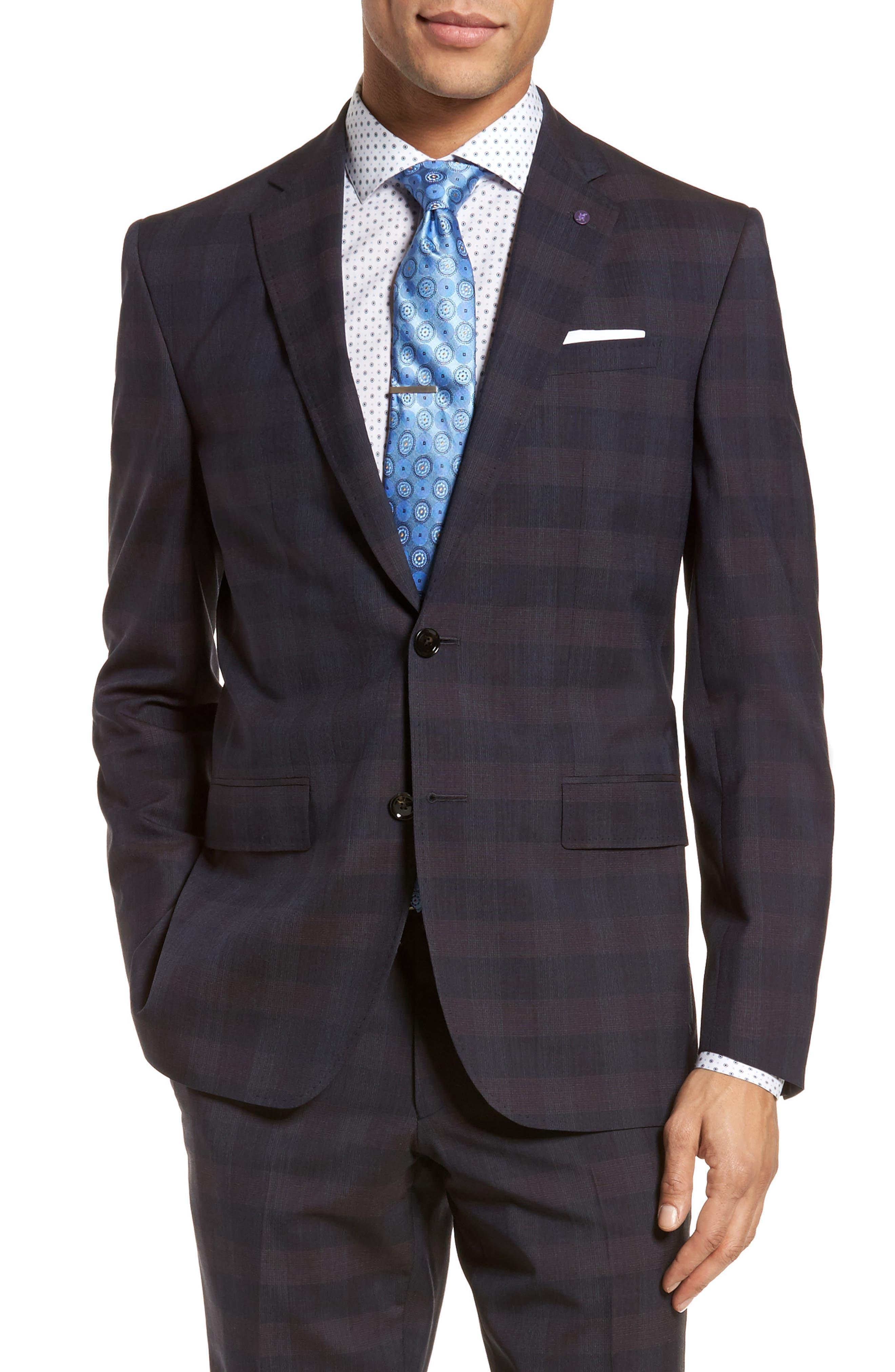 Jay Trim Fit Plaid Wool Suit,                             Alternate thumbnail 5, color,