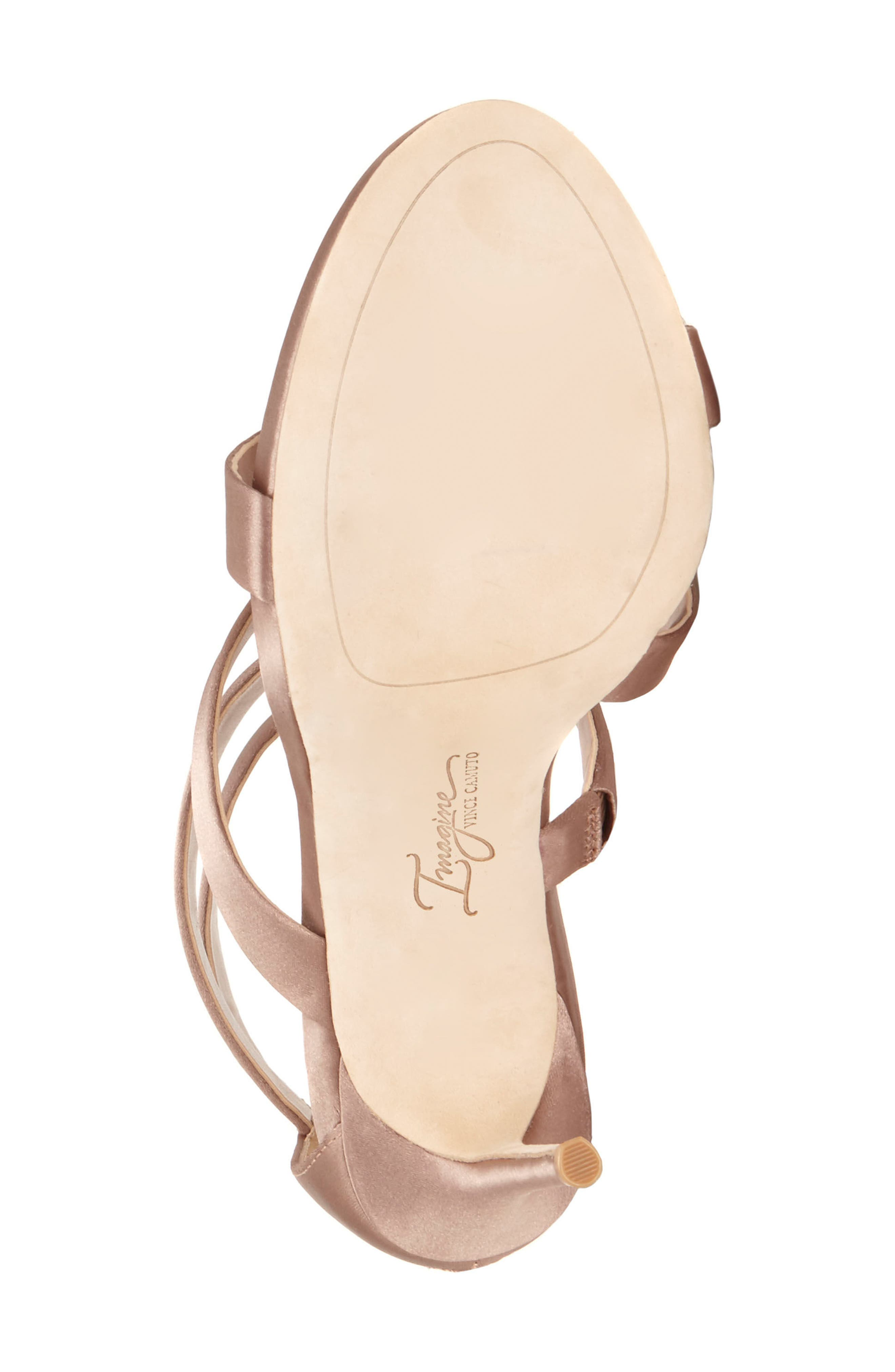Imagine Vince Camuto Dalles Tall Strappy Sandal,                             Alternate thumbnail 6, color,                             WARM TAUPE SATIN