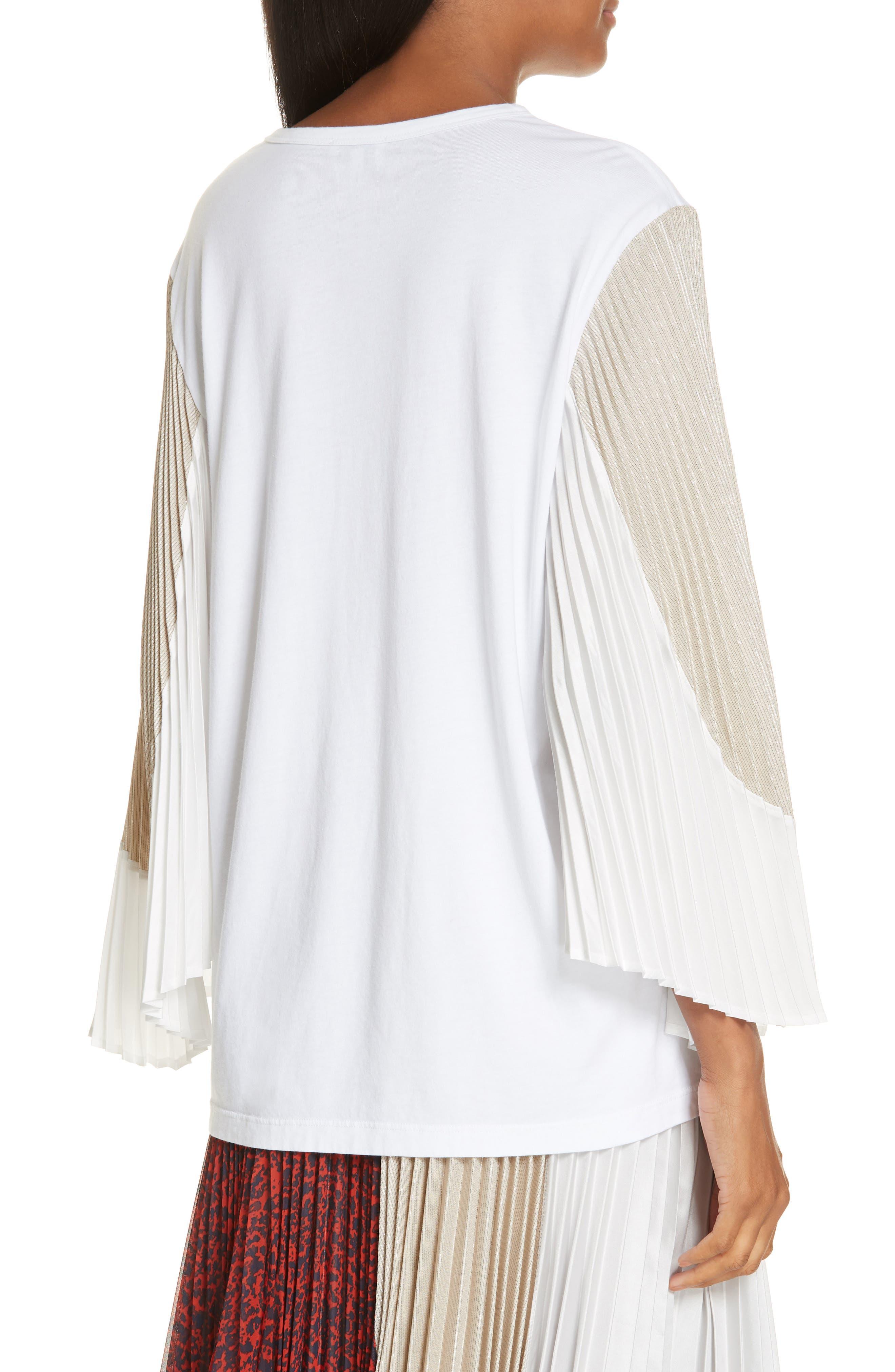 Colorblock Pleated Sleeve Top,                             Alternate thumbnail 2, color,                             WHITE/ WHITE/ METALLIC