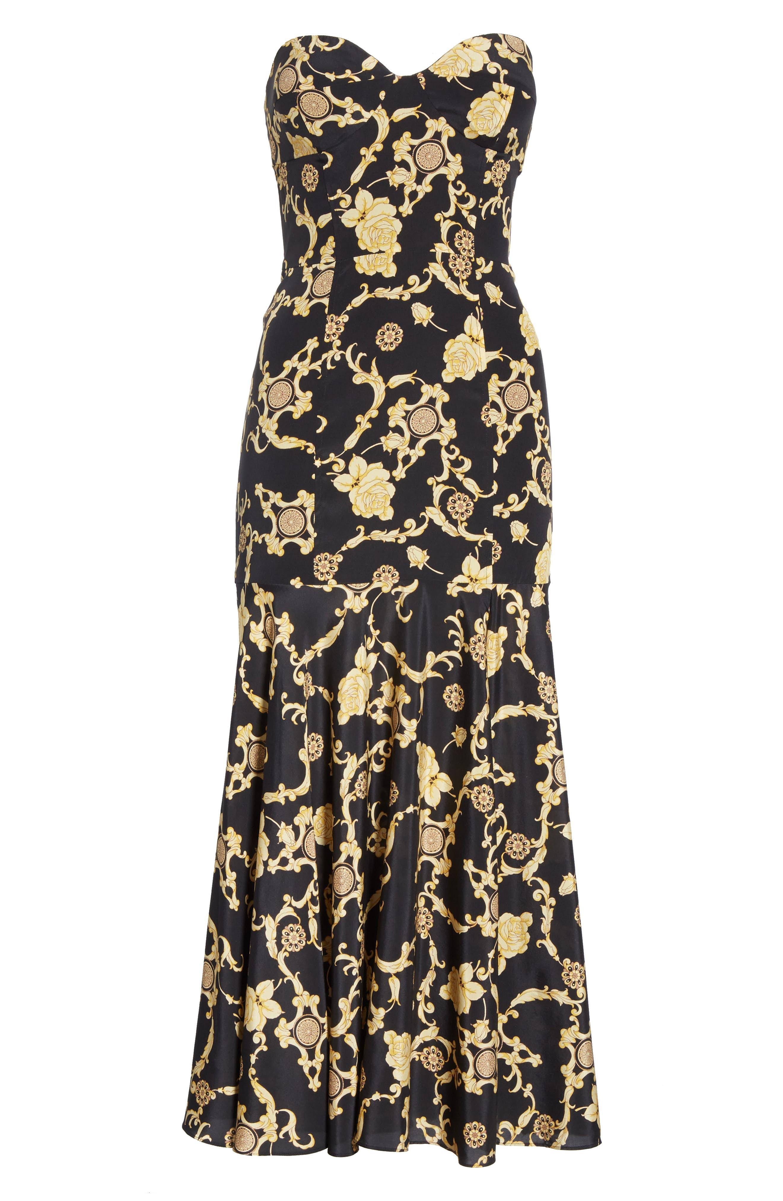 Annika Floral Print Strapless Stretch Silk Dress,                             Alternate thumbnail 6, color,                             BLACK/ GOLD