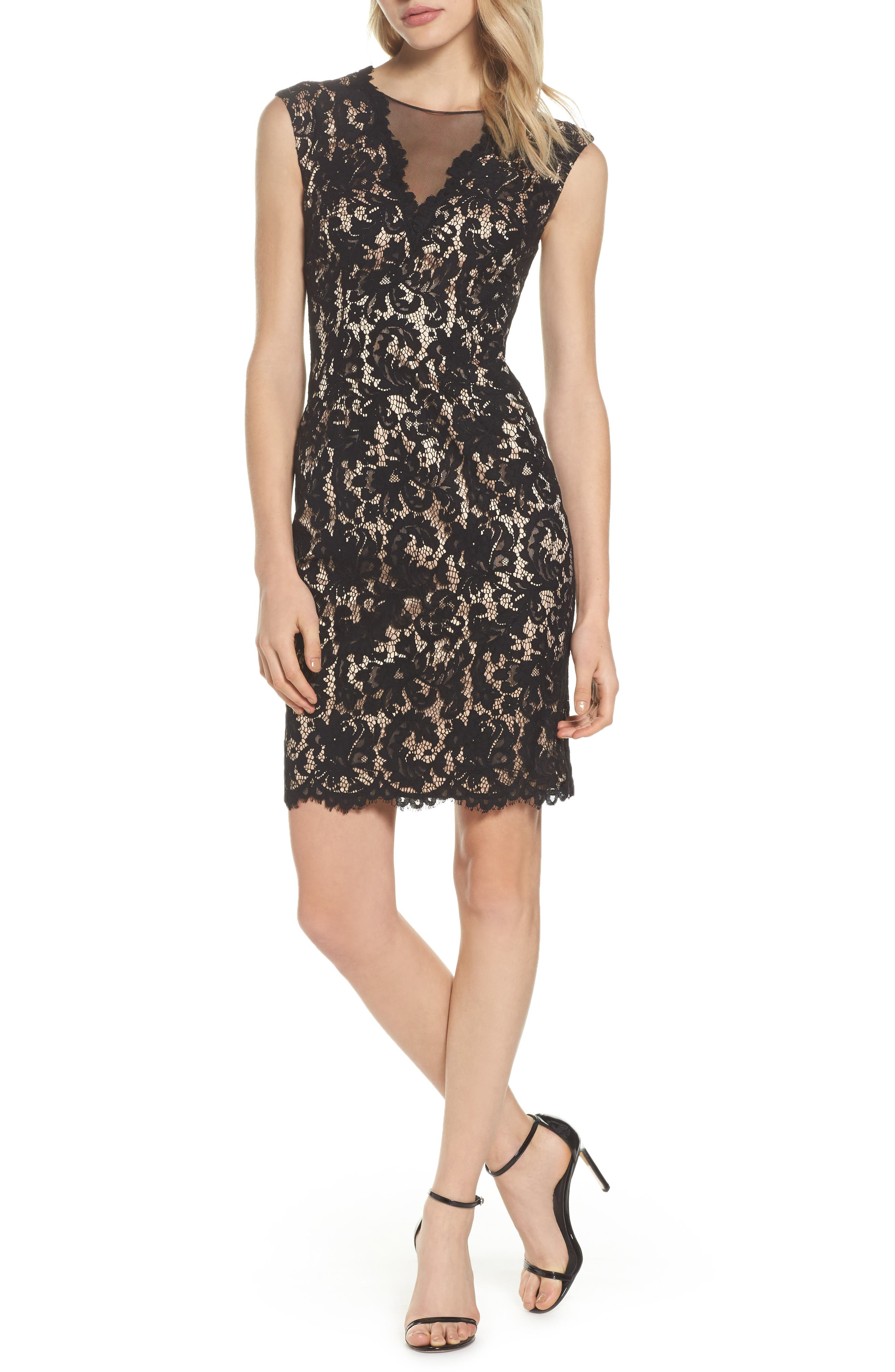 Illusion Lace Sheath Dress,                         Main,                         color, 015