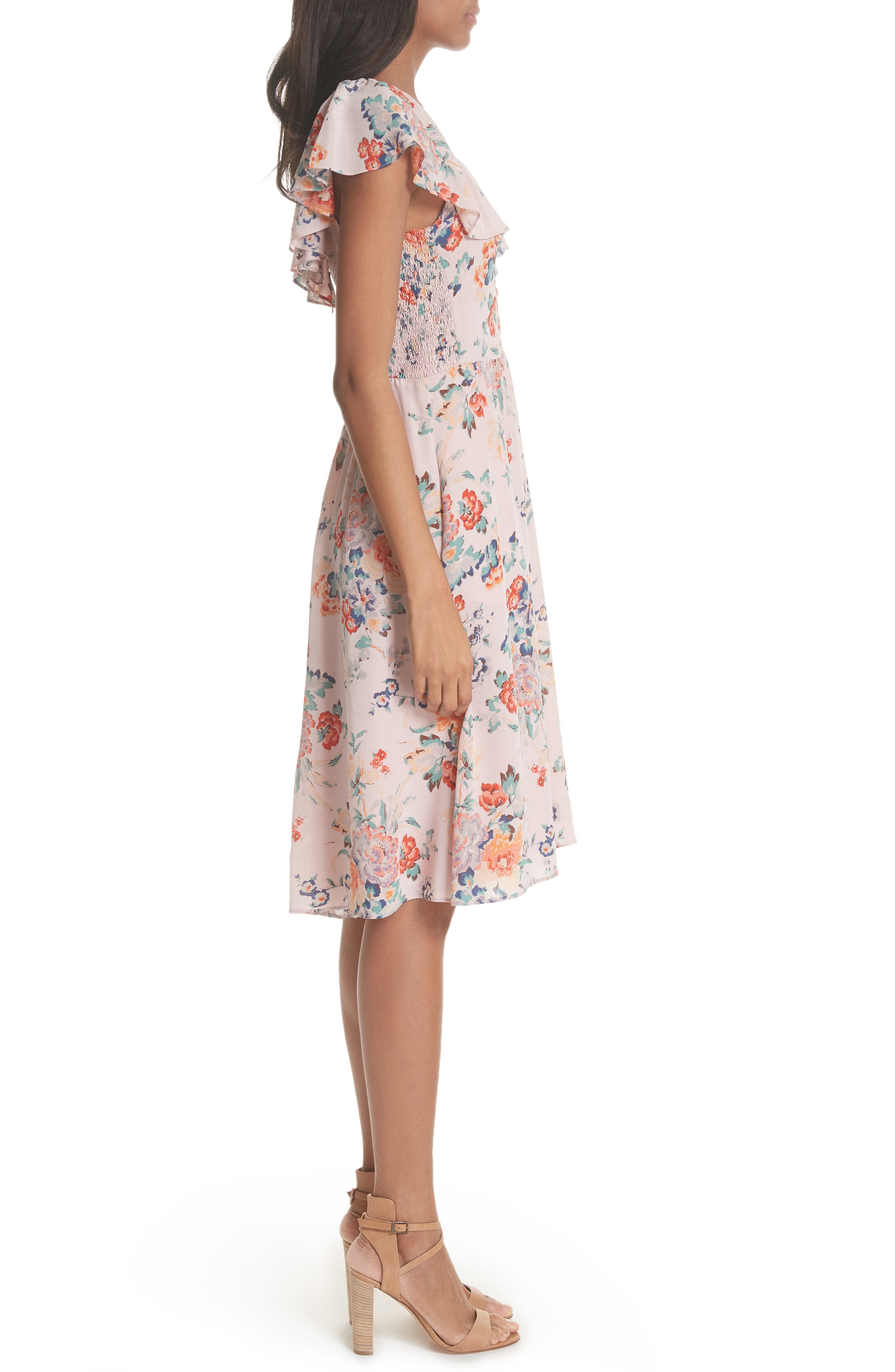 Marlena Ruffle Silk Dress,                             Alternate thumbnail 3, color,                             657