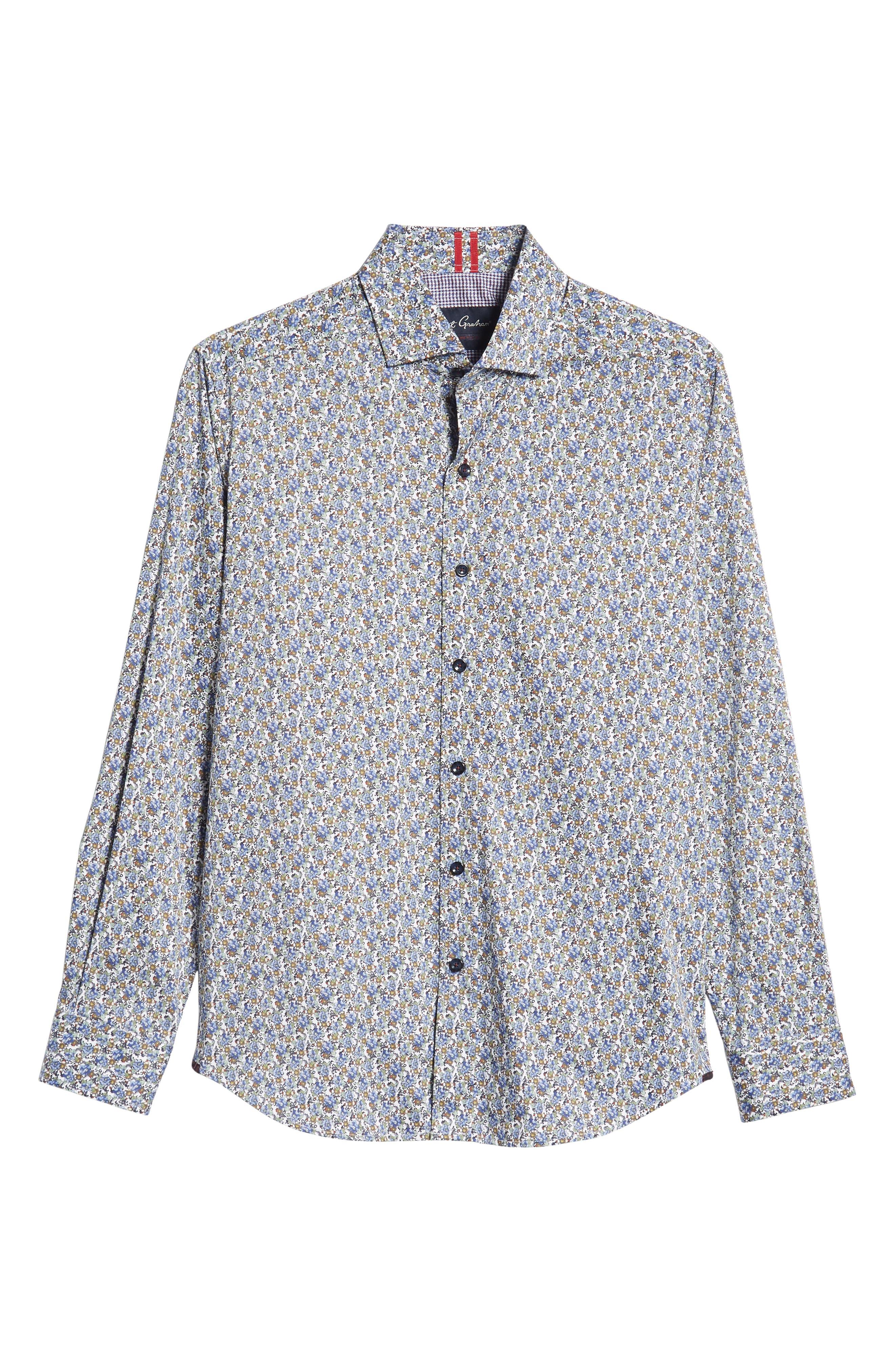 Richardson Tailored Fit Print Sport Shirt,                             Alternate thumbnail 5, color,                             400