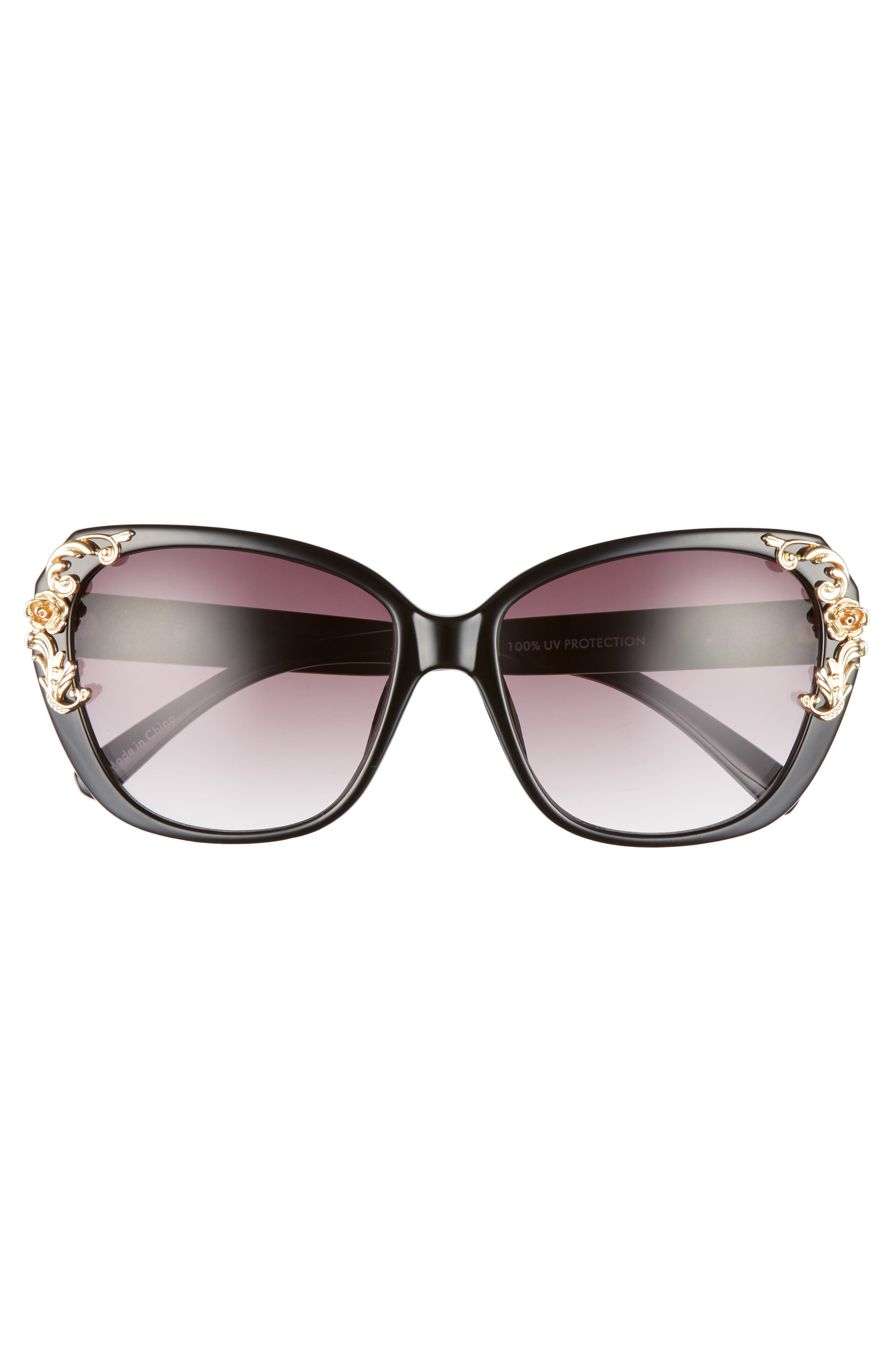 56mm Filigree Embellished Square Sunglasses,                             Alternate thumbnail 3, color,                             005