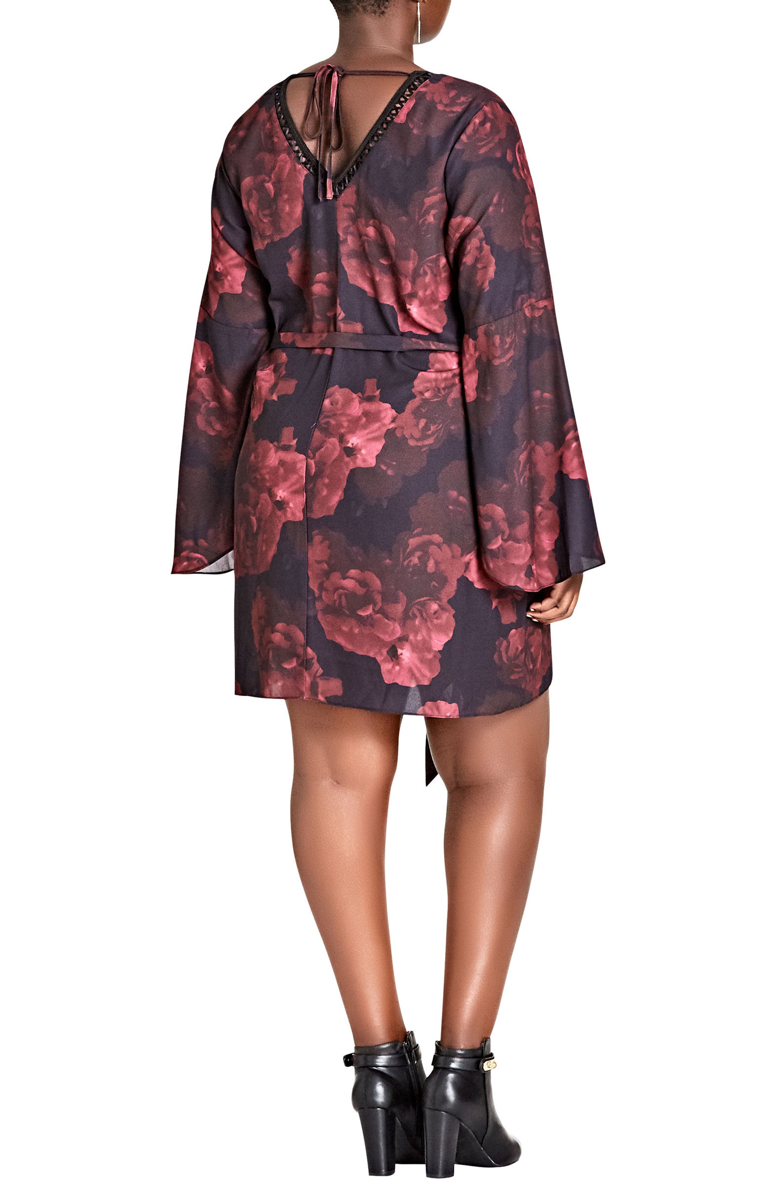 Crimson Rose Tunic Dress,                             Alternate thumbnail 2, color,                             CRIMSON ROSE