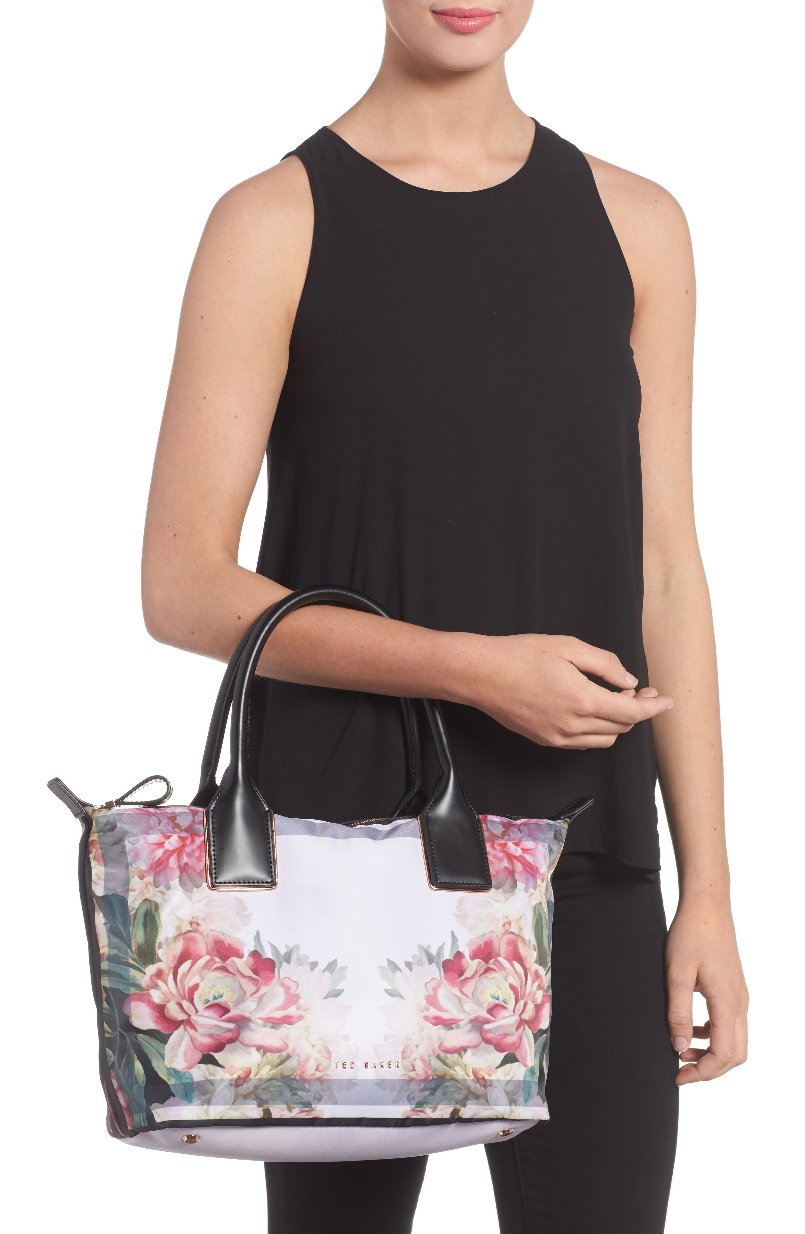 Small Painted Posie Tote,                             Alternate thumbnail 2, color,                             682