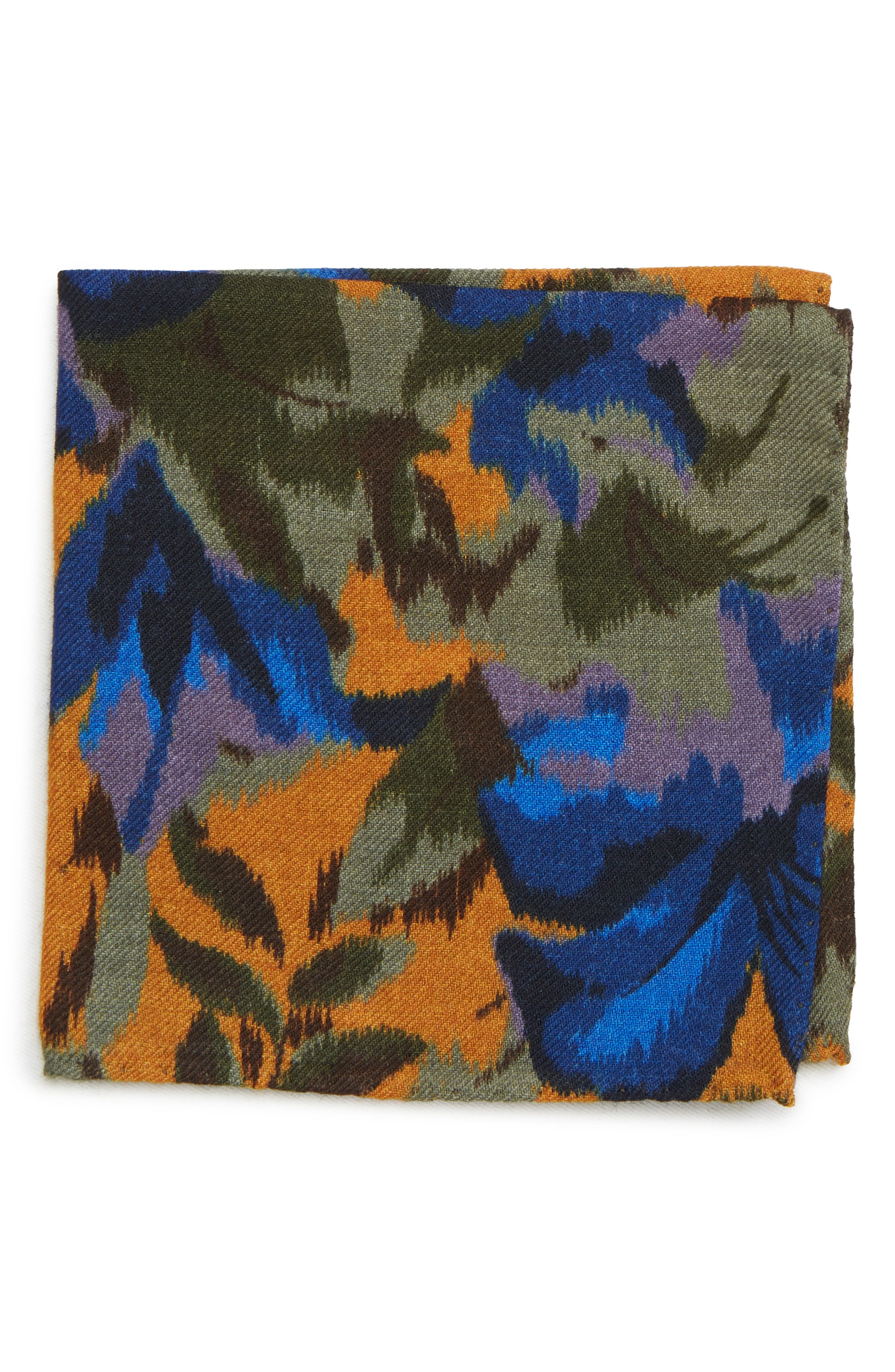 Floral Wool Pocket Square,                         Main,                         color, FLORAL AMBER TOPAZ