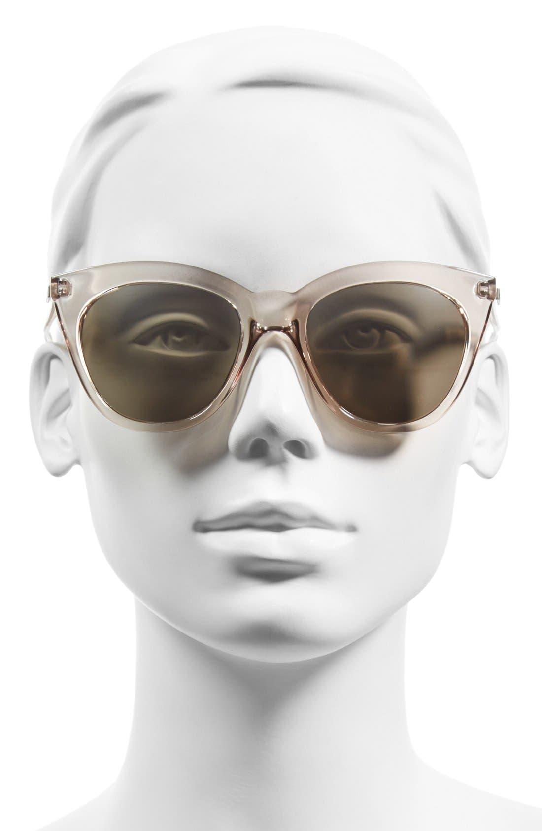 Halfmoon Magic 51mm Cat Eye Sunglasses,                             Alternate thumbnail 2, color,                             STONE/ SILVER MIRROR