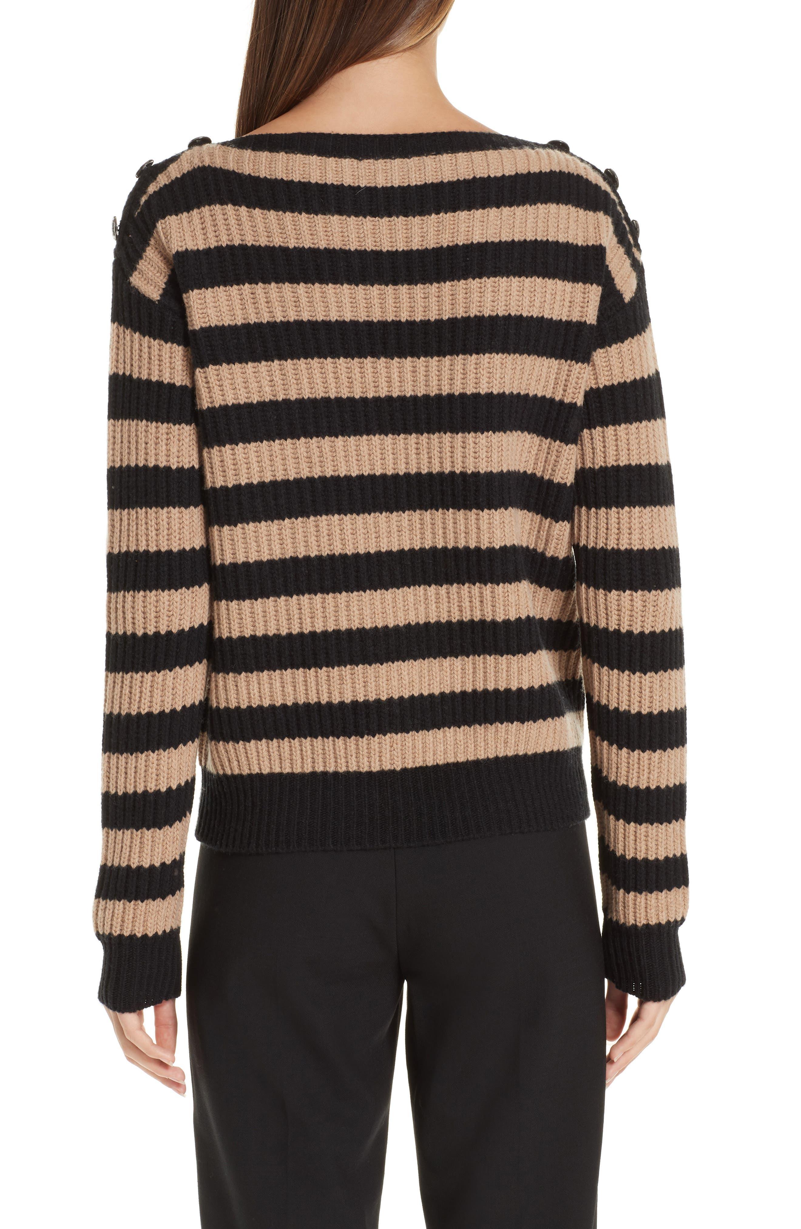 Salpa Stripe Wool & Cashmere Pullover,                             Alternate thumbnail 2, color,                             STRIPED CAMEL