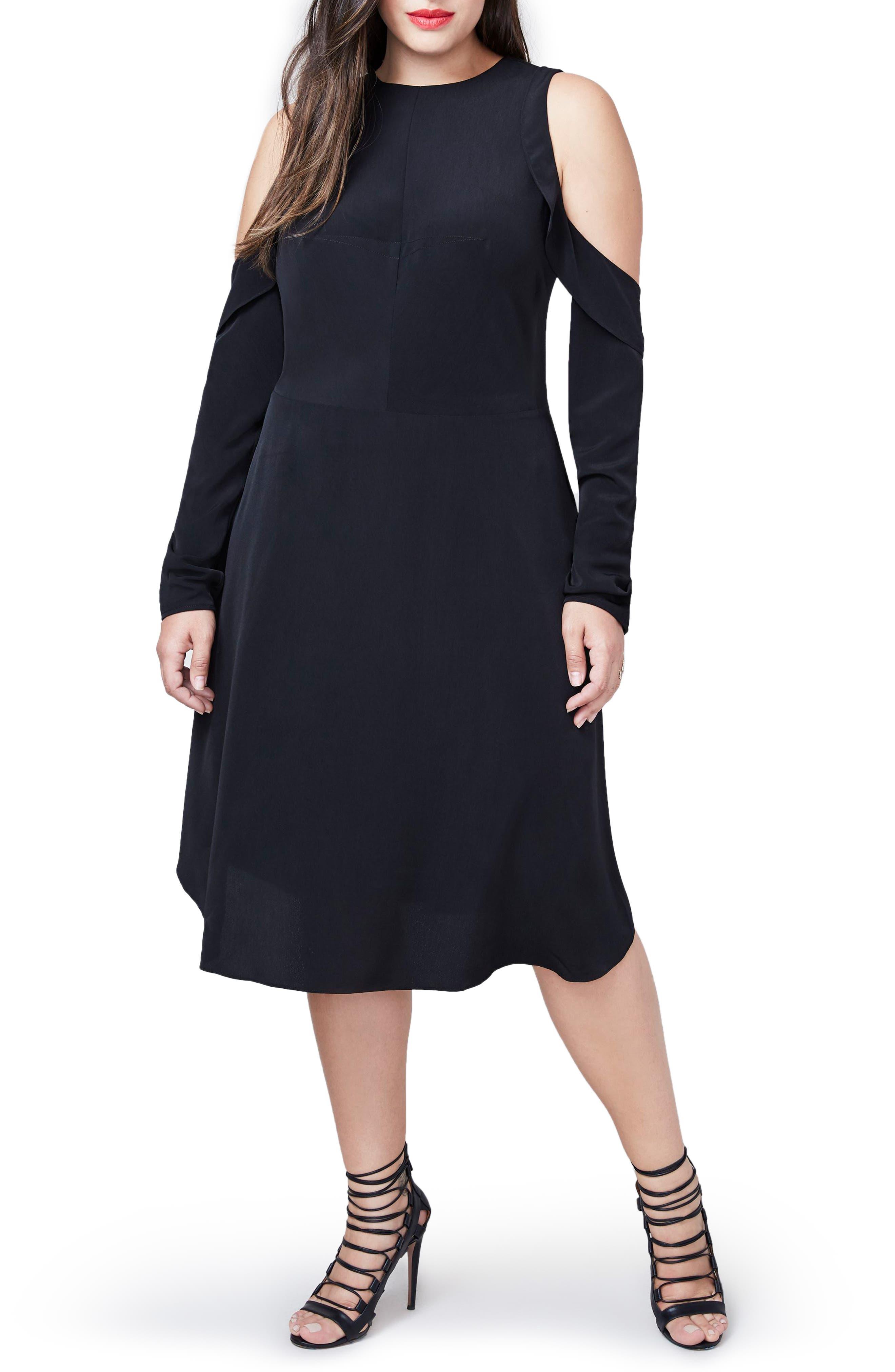 RACHEL Rachel Roy Ruffle Cold Shoulder Dress,                             Main thumbnail 1, color,                             001