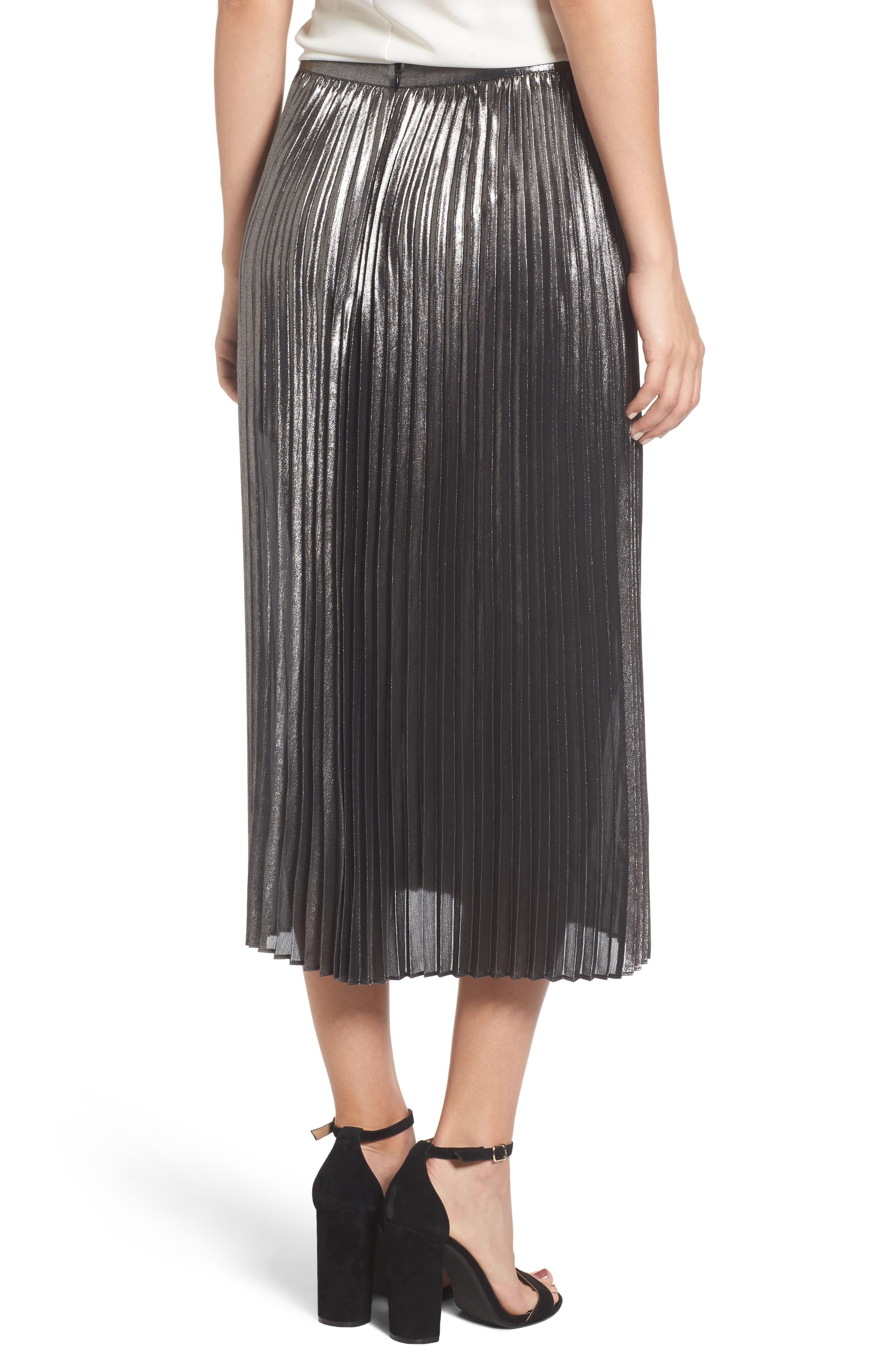 Metallic Pleated Skirt,                             Alternate thumbnail 2, color,                             040