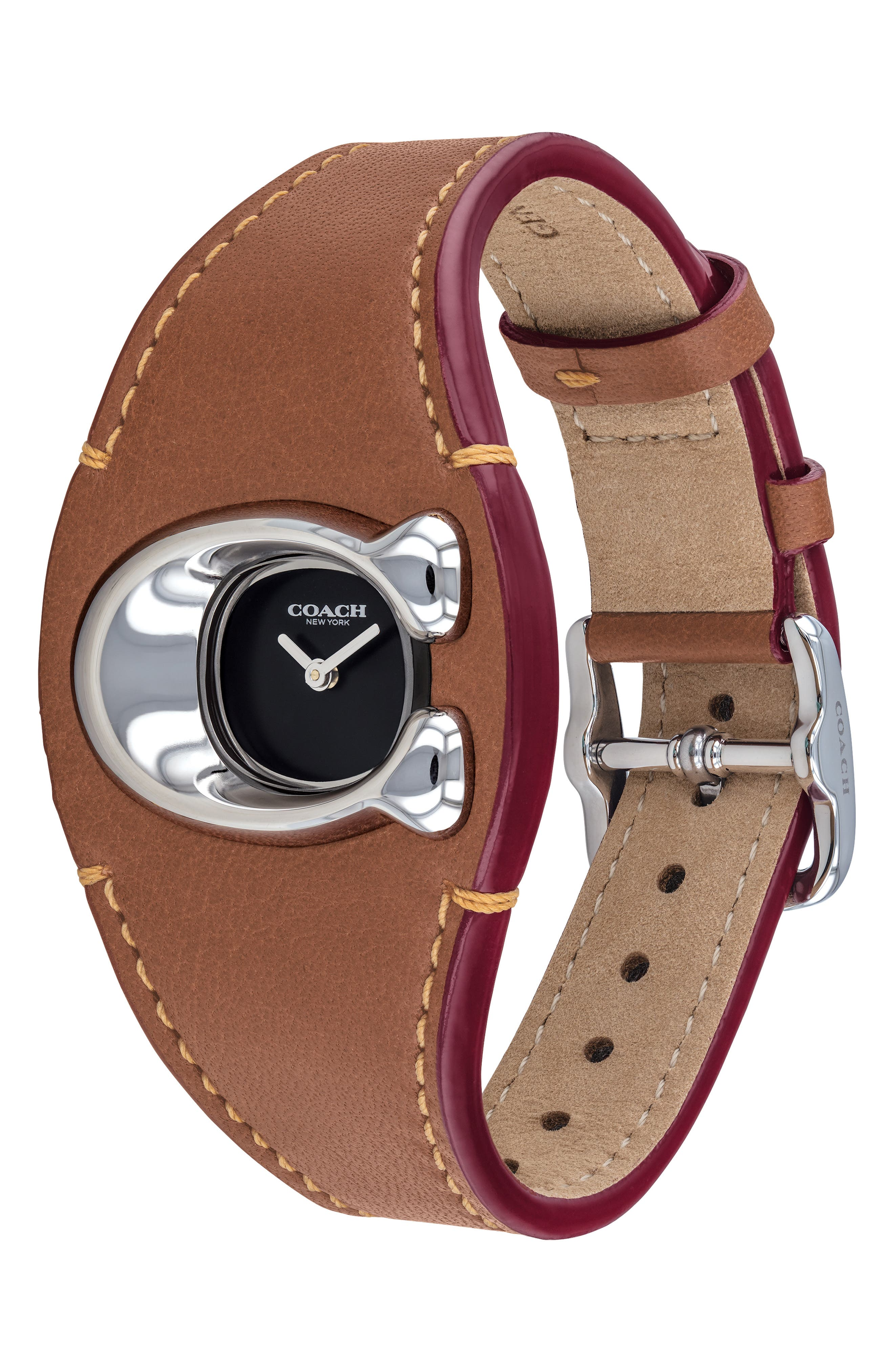 COACH,                             Signature C Leather Strap Watch, 29mm x 21mm,                             Alternate thumbnail 3, color,                             200