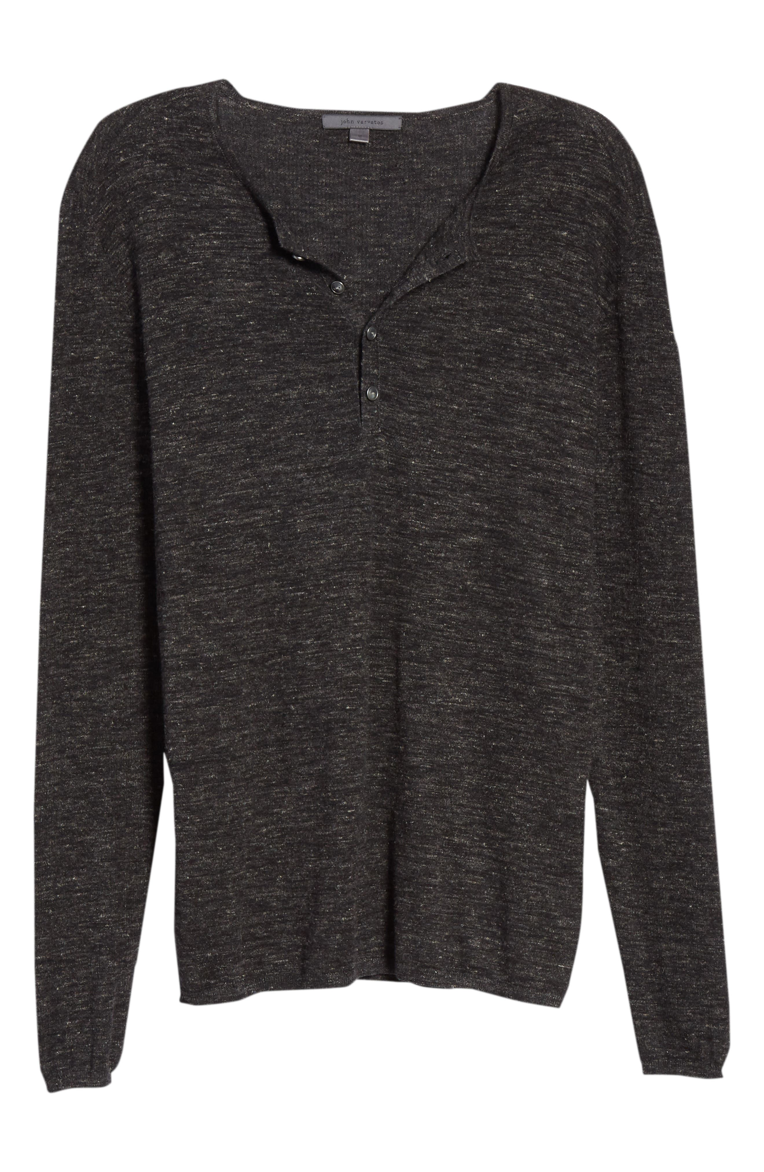 Mélange Henley Sweater,                             Alternate thumbnail 6, color,                             DARK CHARCOAL