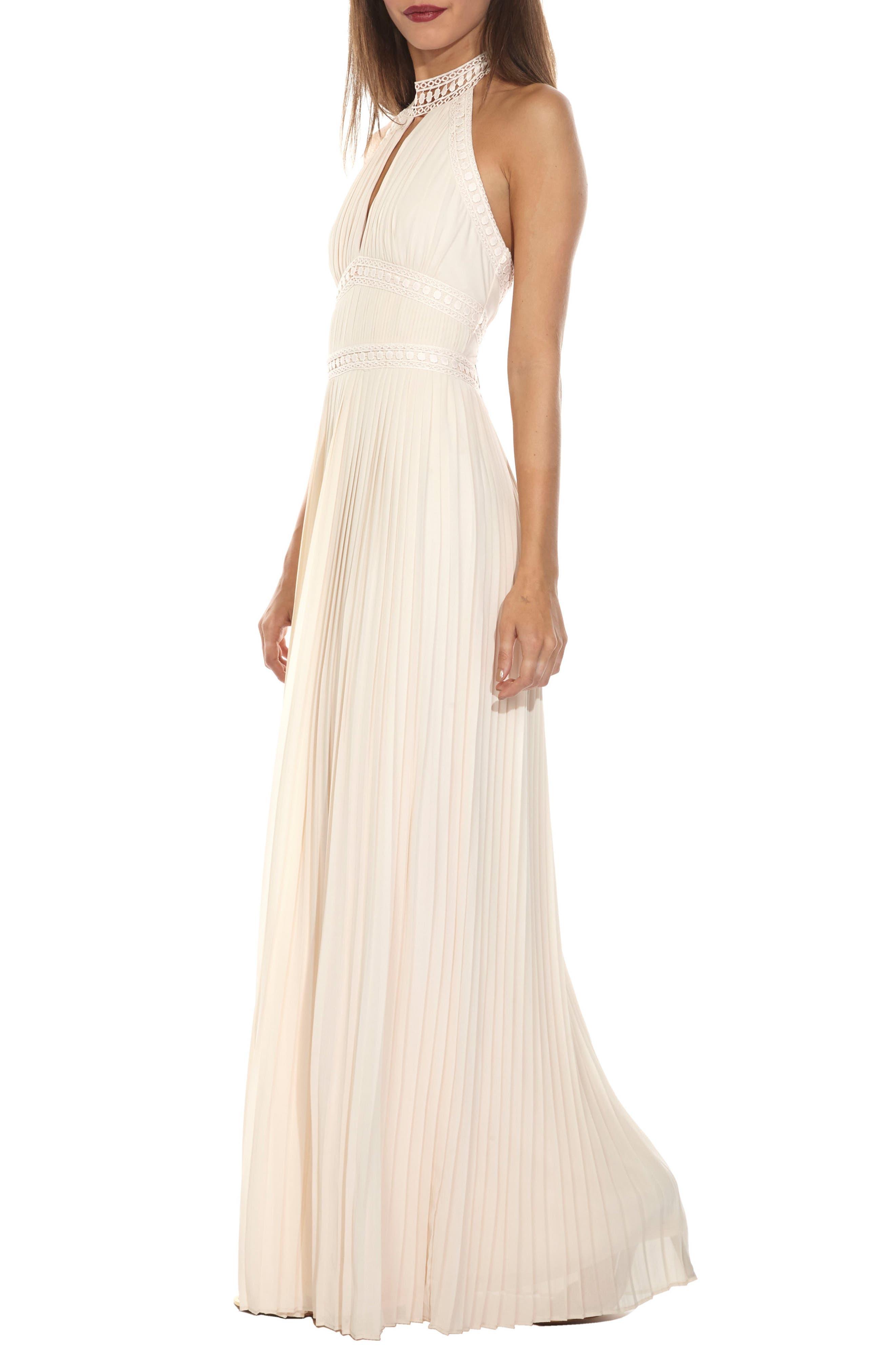 Corinne Lace Trim Halter Maxi Dress,                             Alternate thumbnail 3, color,                             280
