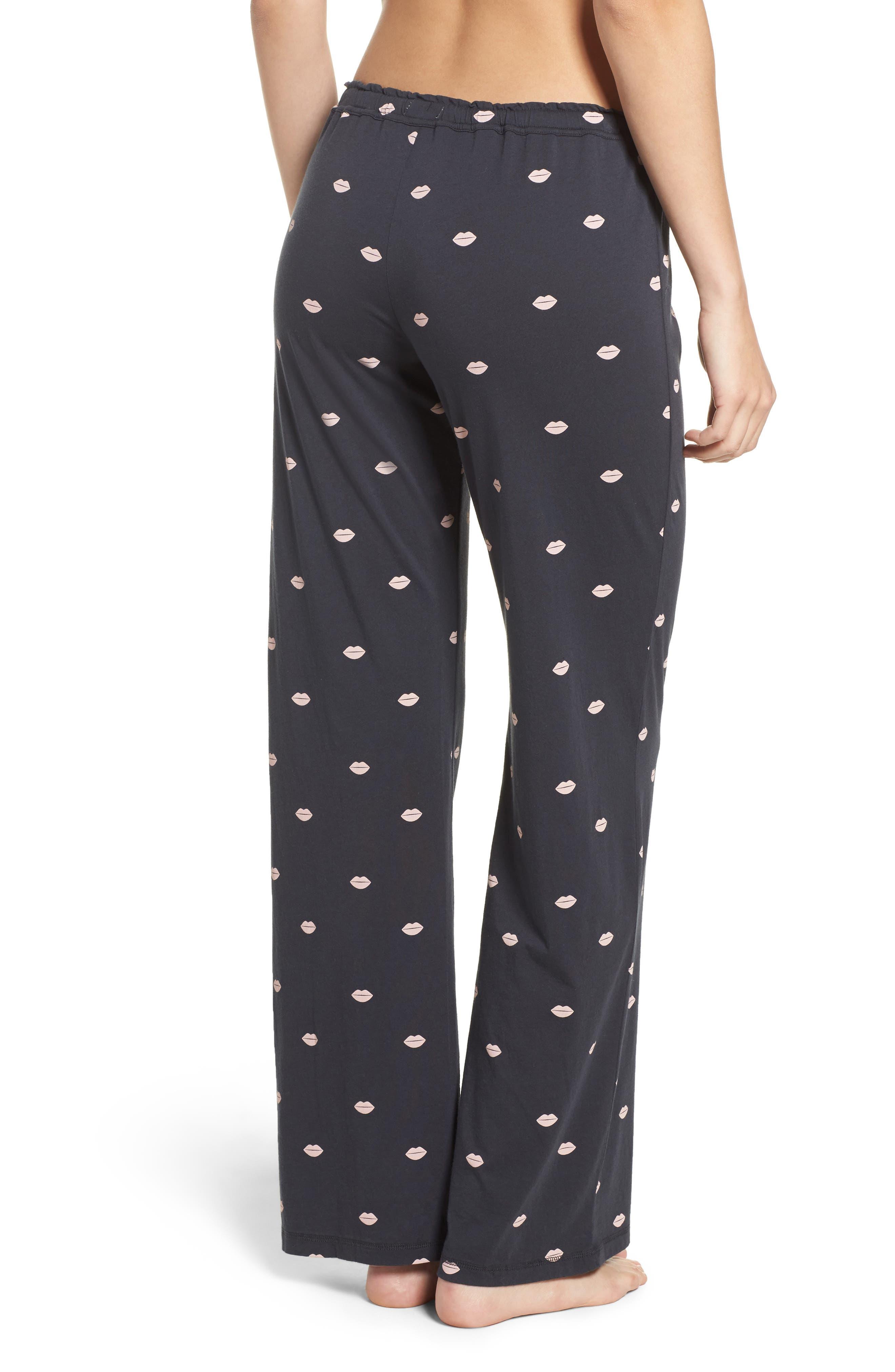 Lip Print Pajama Pants,                             Alternate thumbnail 2, color,                             030