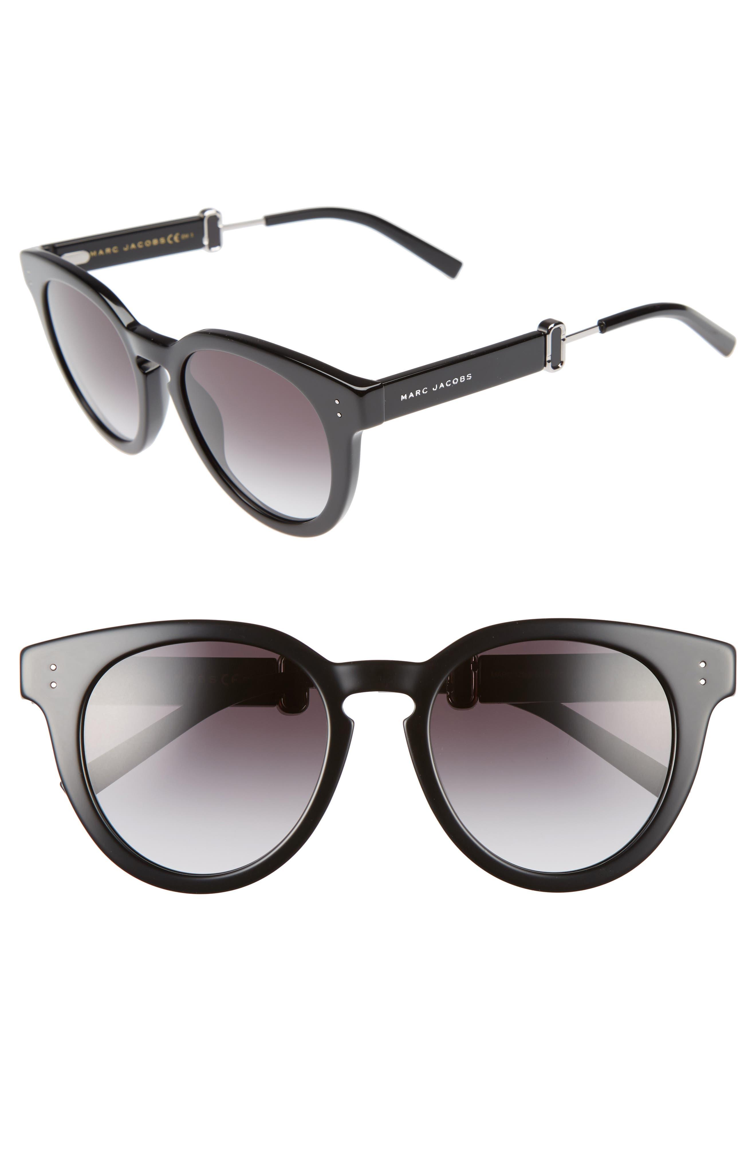 50mm Round Sunglasses,                             Main thumbnail 1, color,                             001