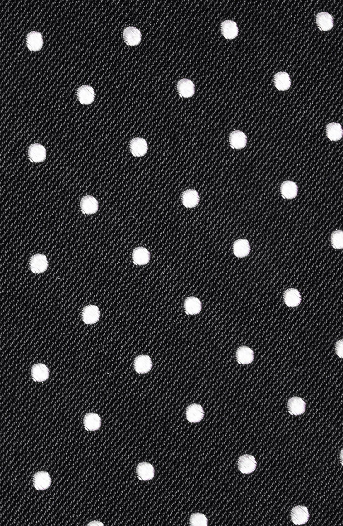 Polka Dot Silk Tie,                             Alternate thumbnail 2, color,                             BLACK