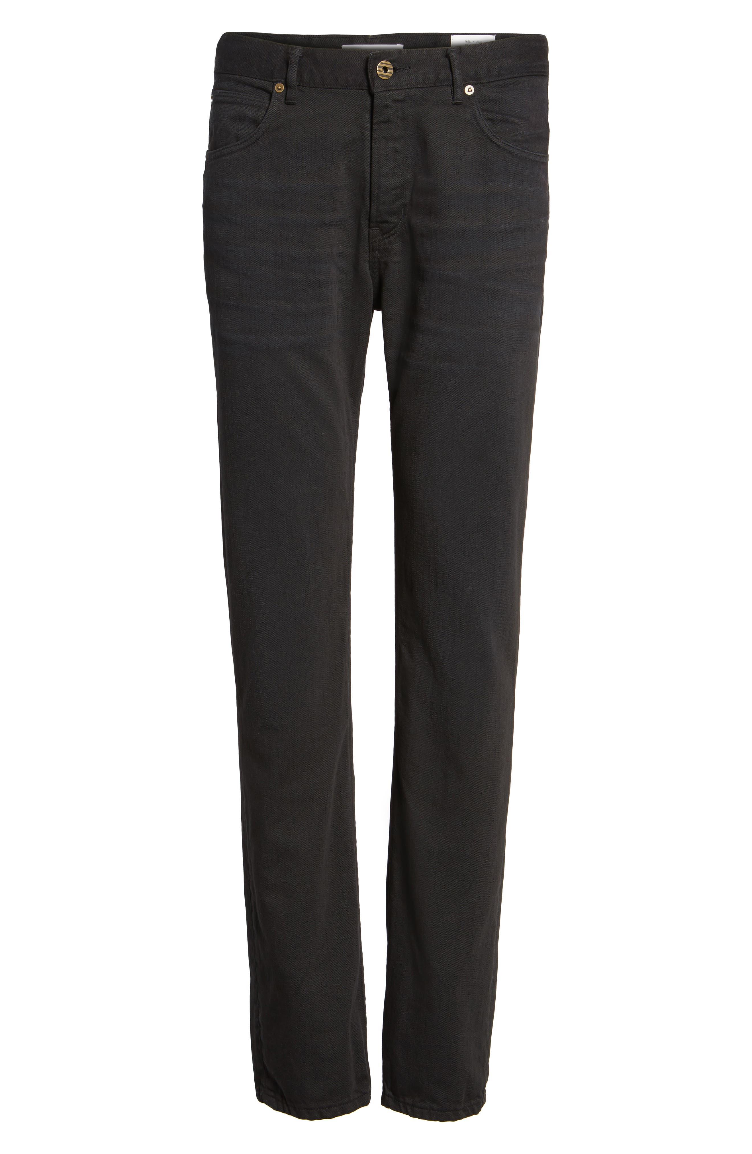 Slim Straight Leg Pants,                             Alternate thumbnail 6, color,                             001