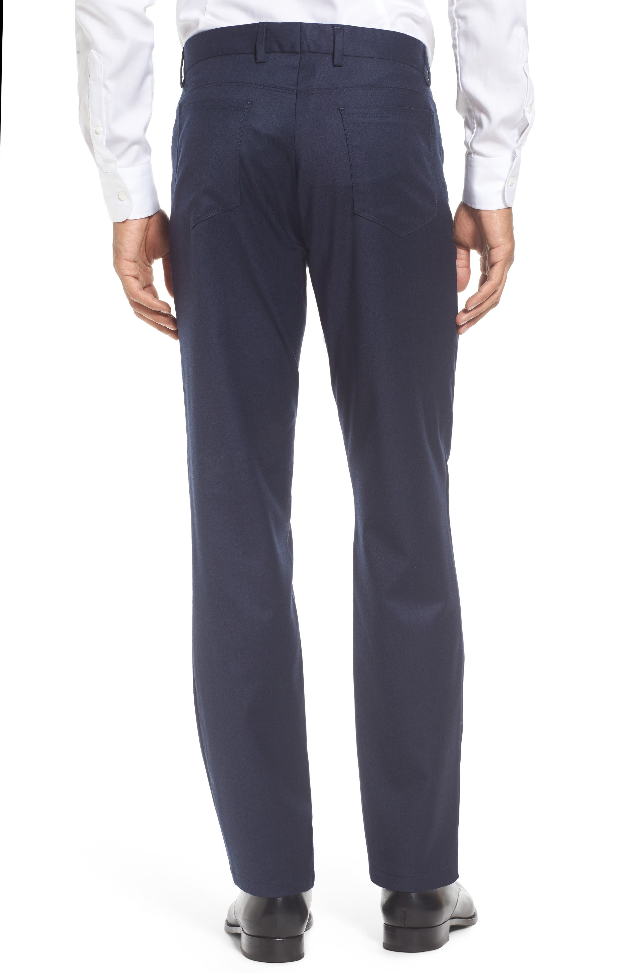Flat Front Solid Stretch Wool Trousers,                             Alternate thumbnail 9, color,